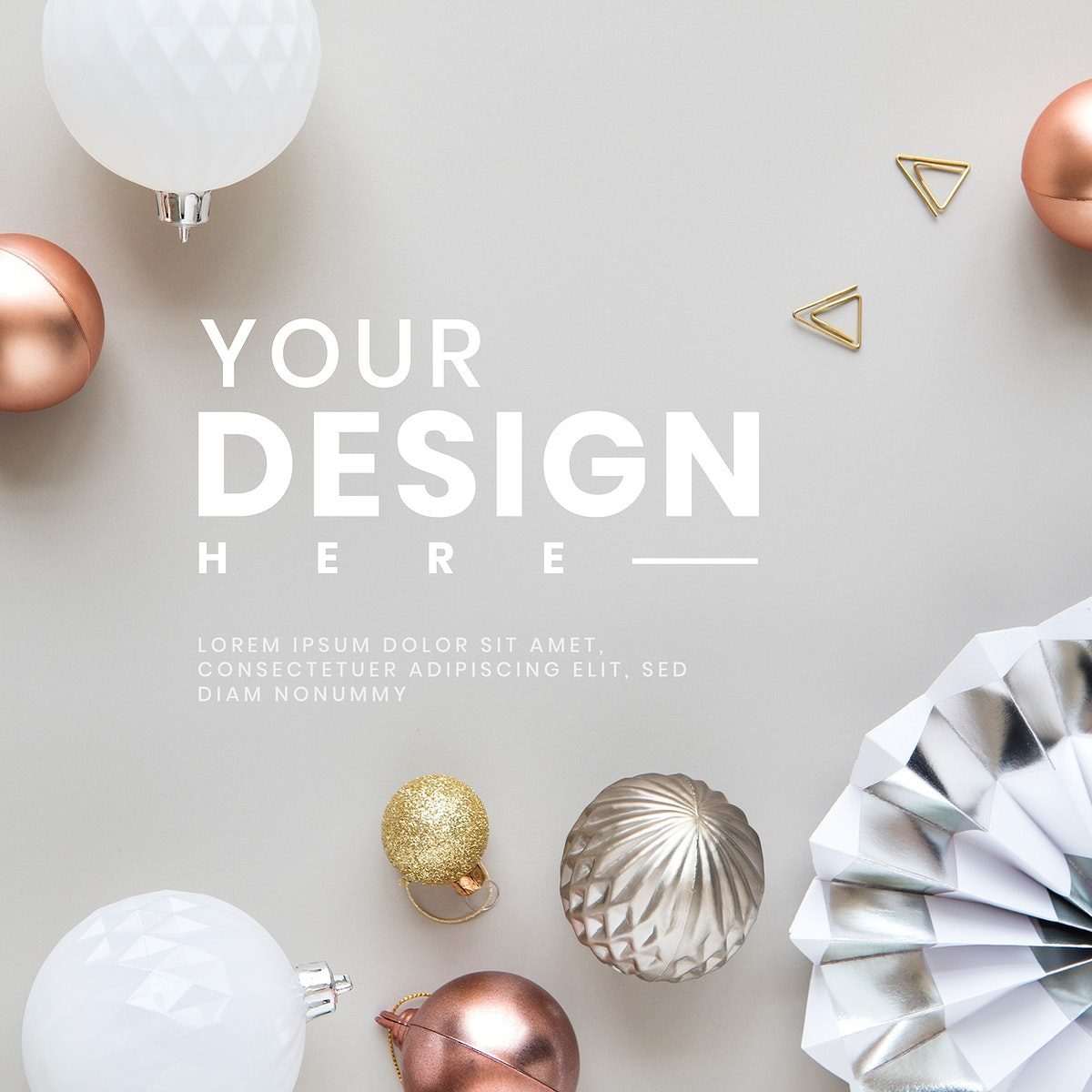 Metallic Christmas baubles patterned commercial background vector