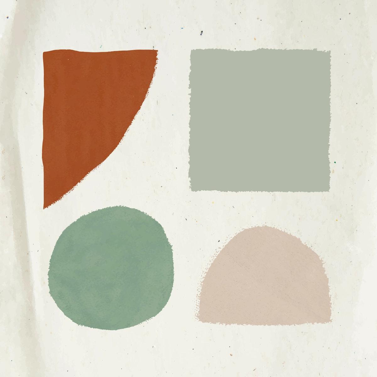 Hand drawn geometric shape watercolor element set vector