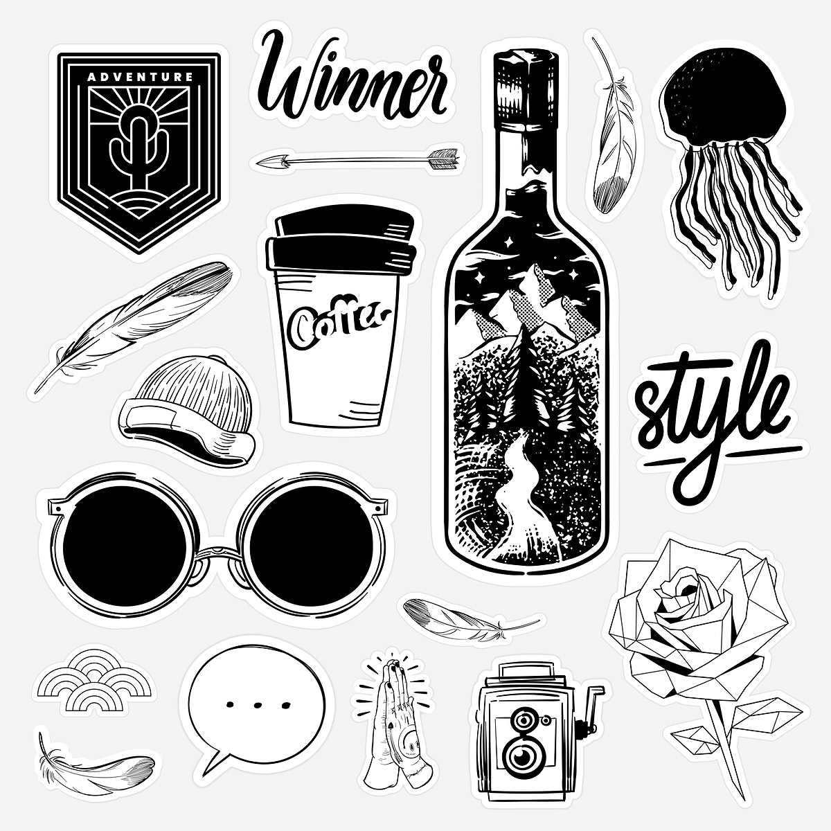Set of black and white sticker doodle vector