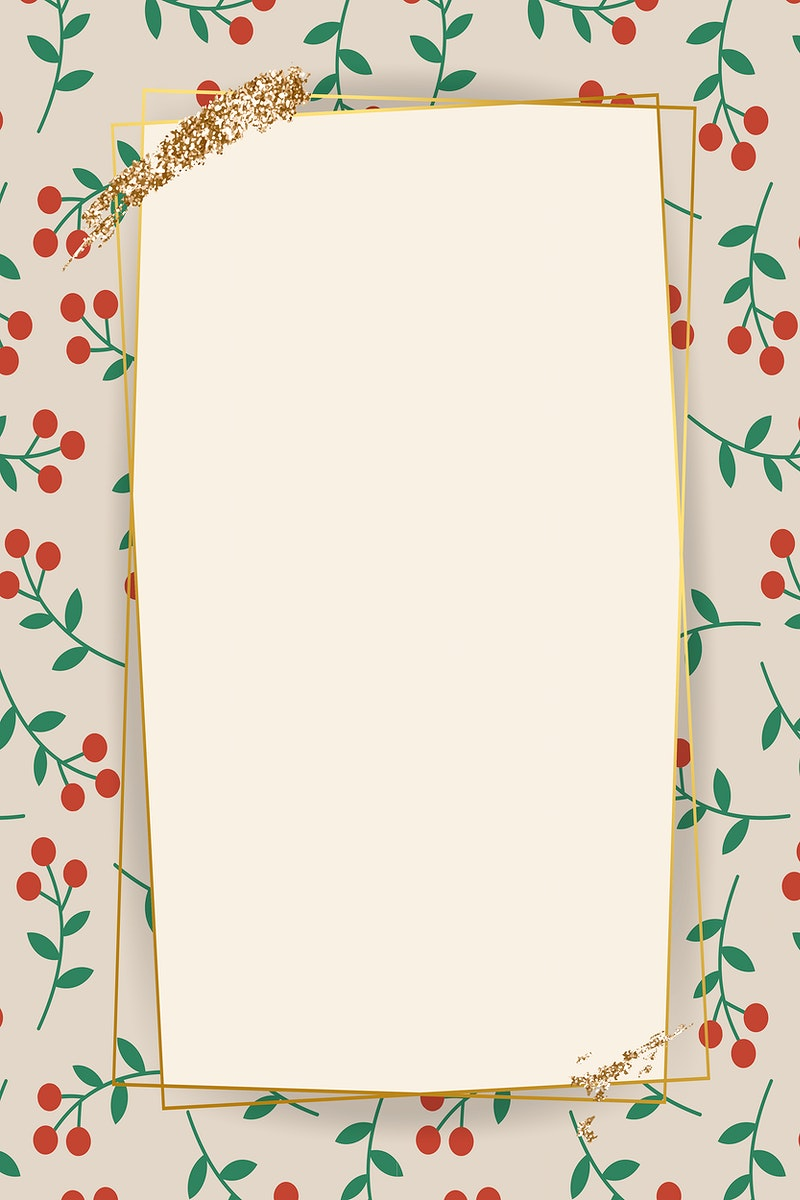 Gold frame on red berry pattern background vector