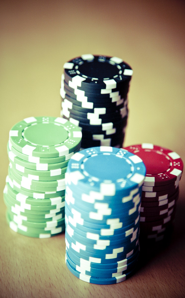 Close up of poker chips