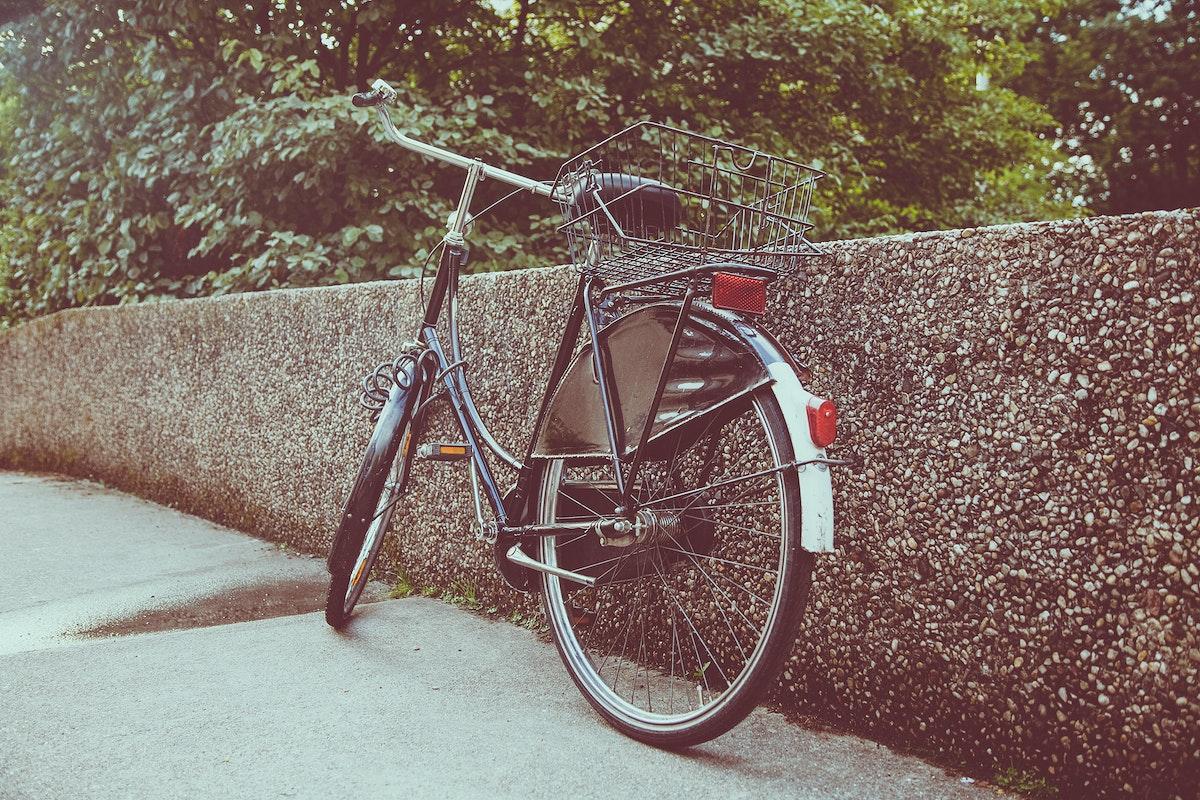 Bike resting on a wall