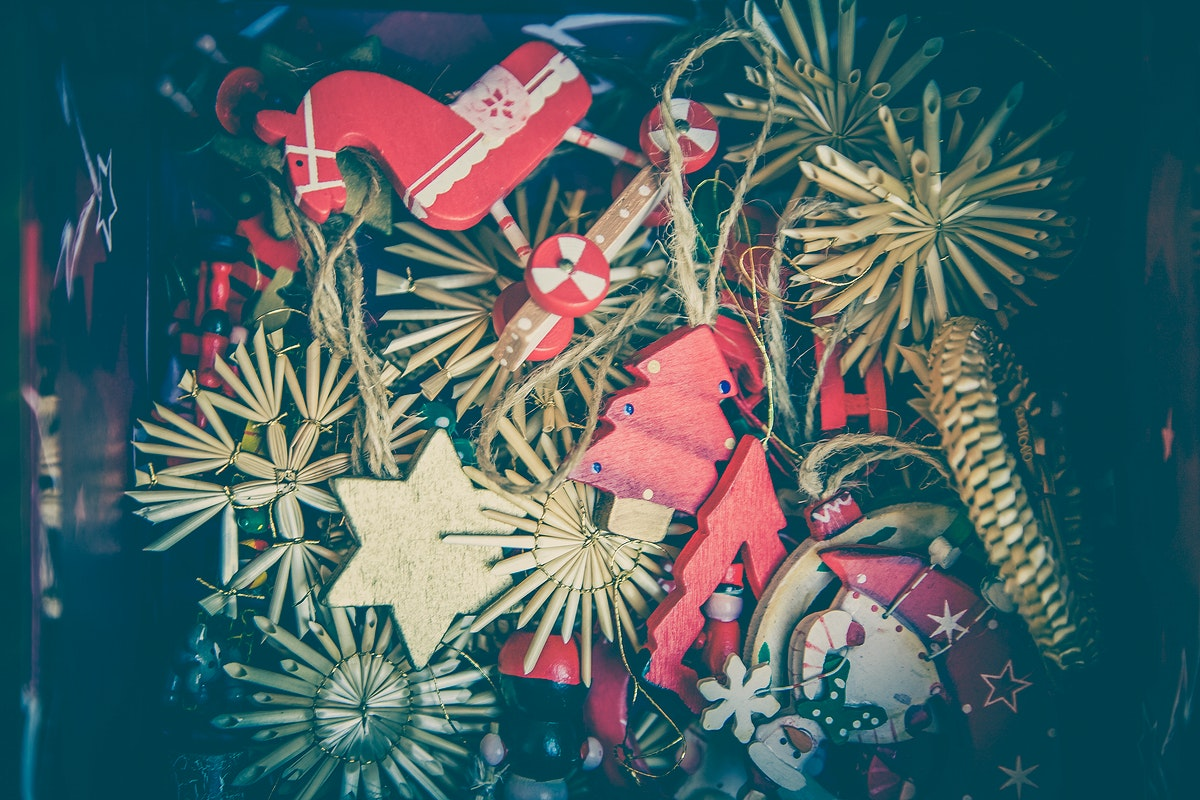 Close up of Christmas decorations