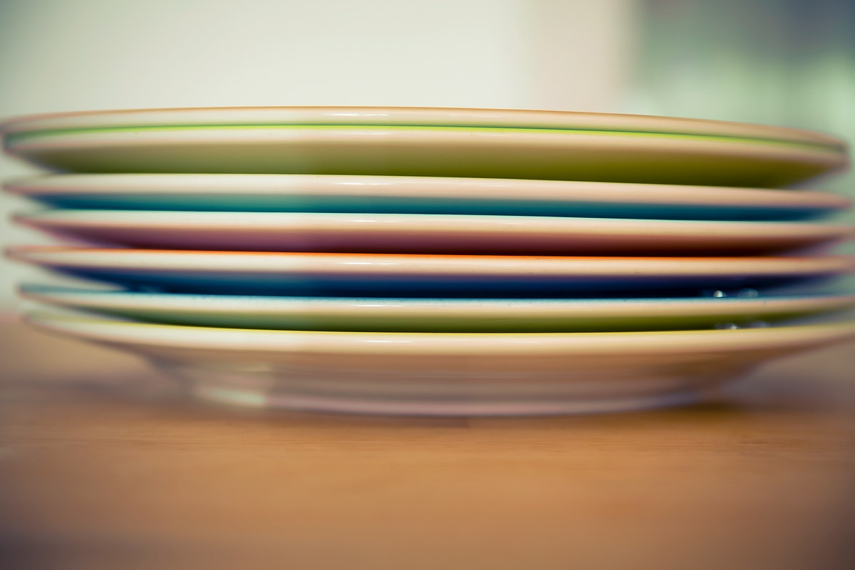 Stacked colorful plates