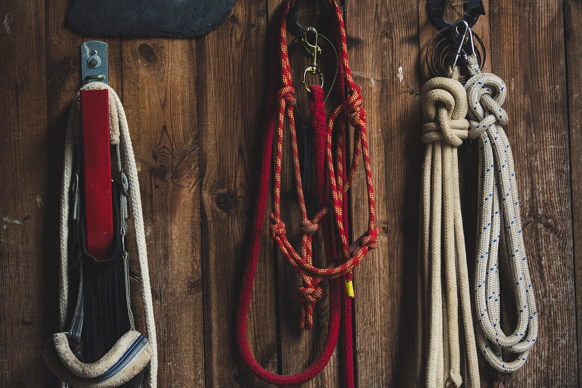 Different types of ropes hanging on the wall
