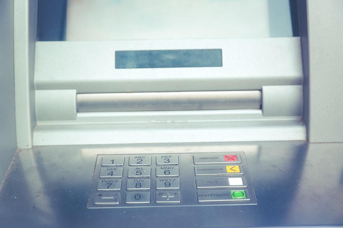Close up of ATM machine keypad