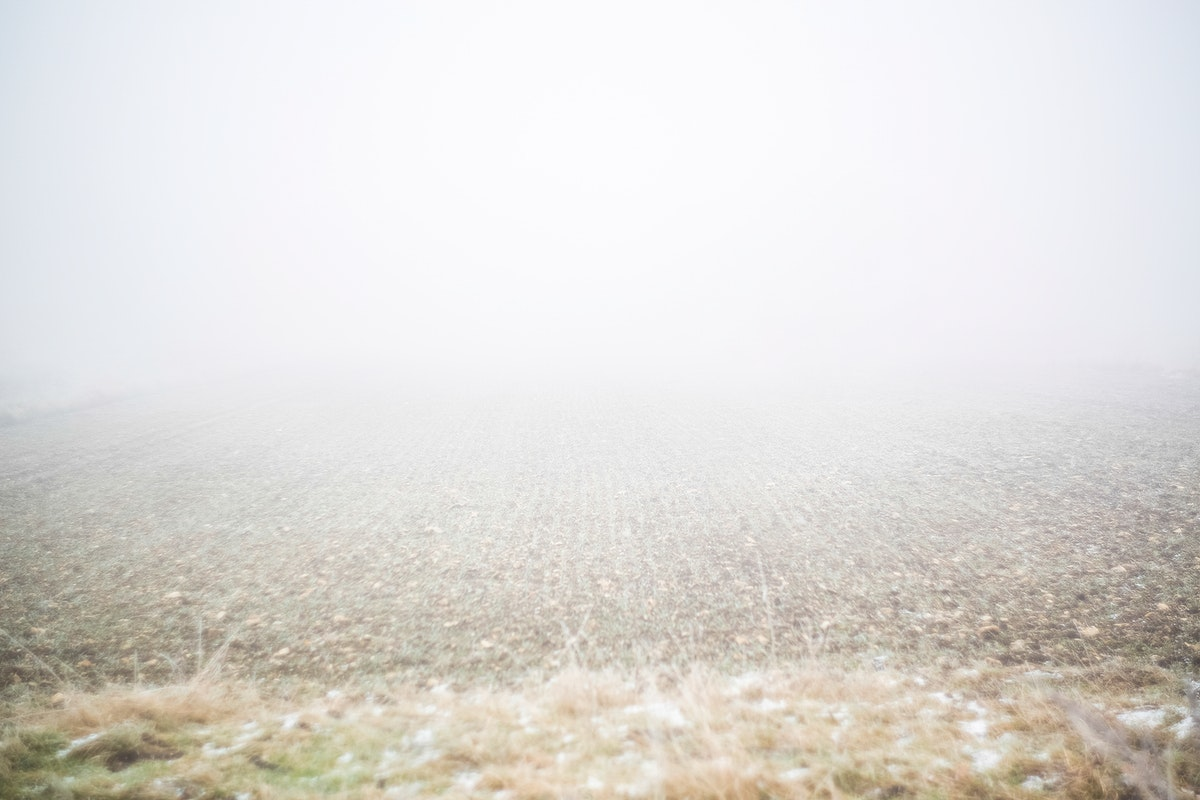 Snowing over a field