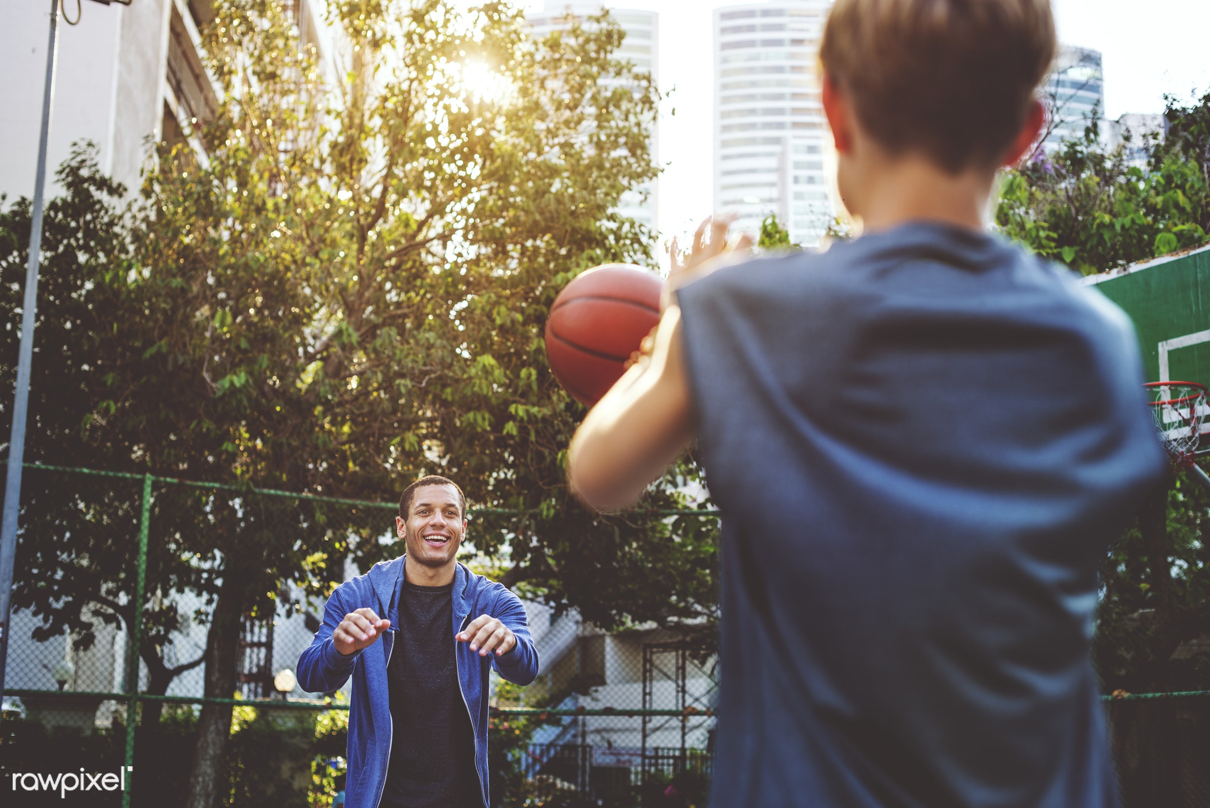 Young basketball player shoot - play, teen, exercise, activity, basketball, boy, coach, court, friends, game, man, player,...