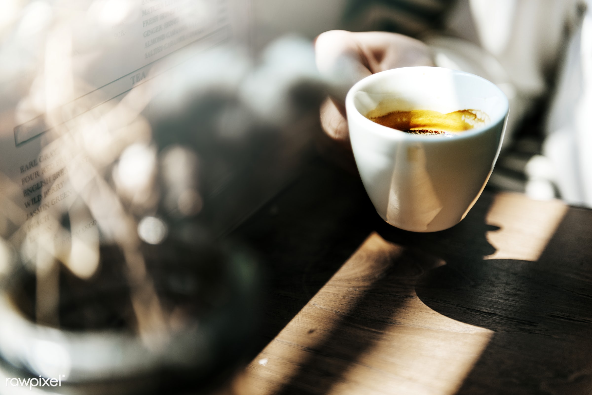 Young caucasian woman at a coffee shop - coffee, cafe, shop, drink, mug, alone, aroma, beverage, break, caffeine, cheerful,...