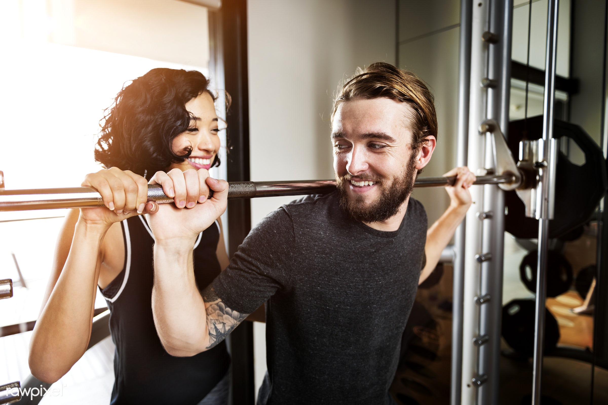 Couple working out together at the gym - gym, active, adult, asian, assistance, athlete, athletic, attractive, body,...