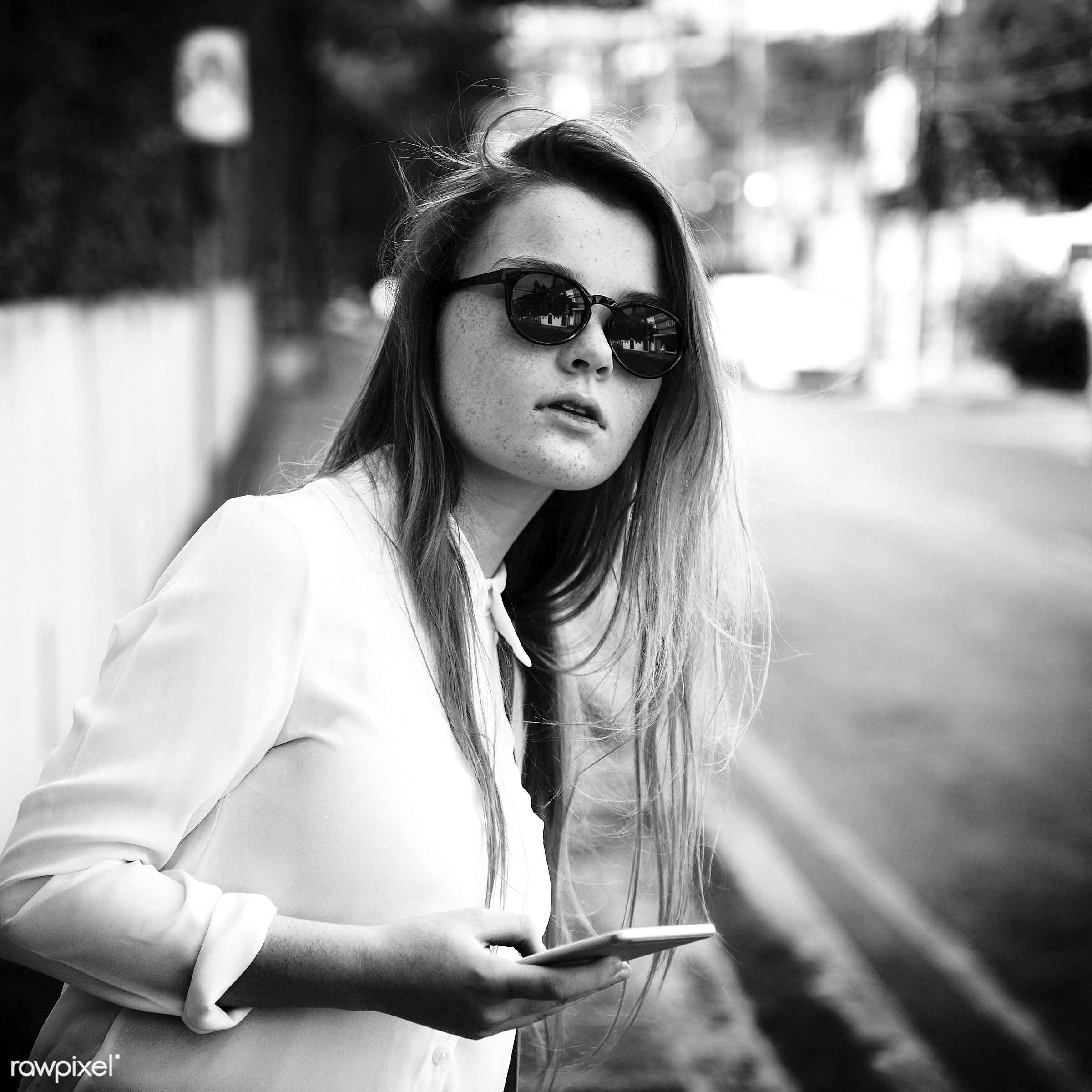 Girl Traveling Holiday Vacation Street Journey Concept - alone, cellphone, cheerful, communication, connection, device,...