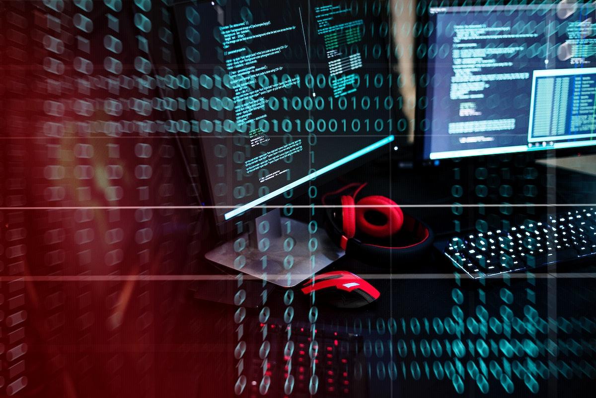 Computer screen with binary code