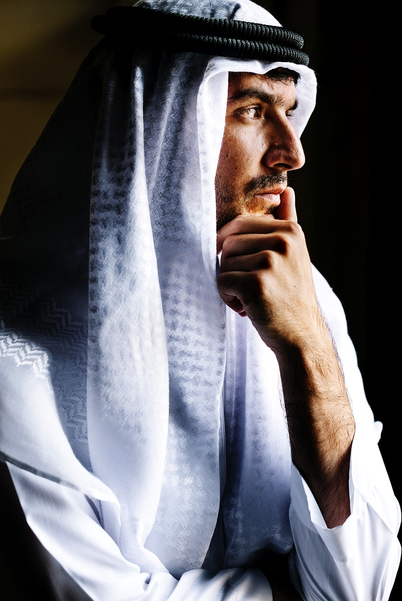 Portrait of a handsome Middle Eastern man thinking deeply