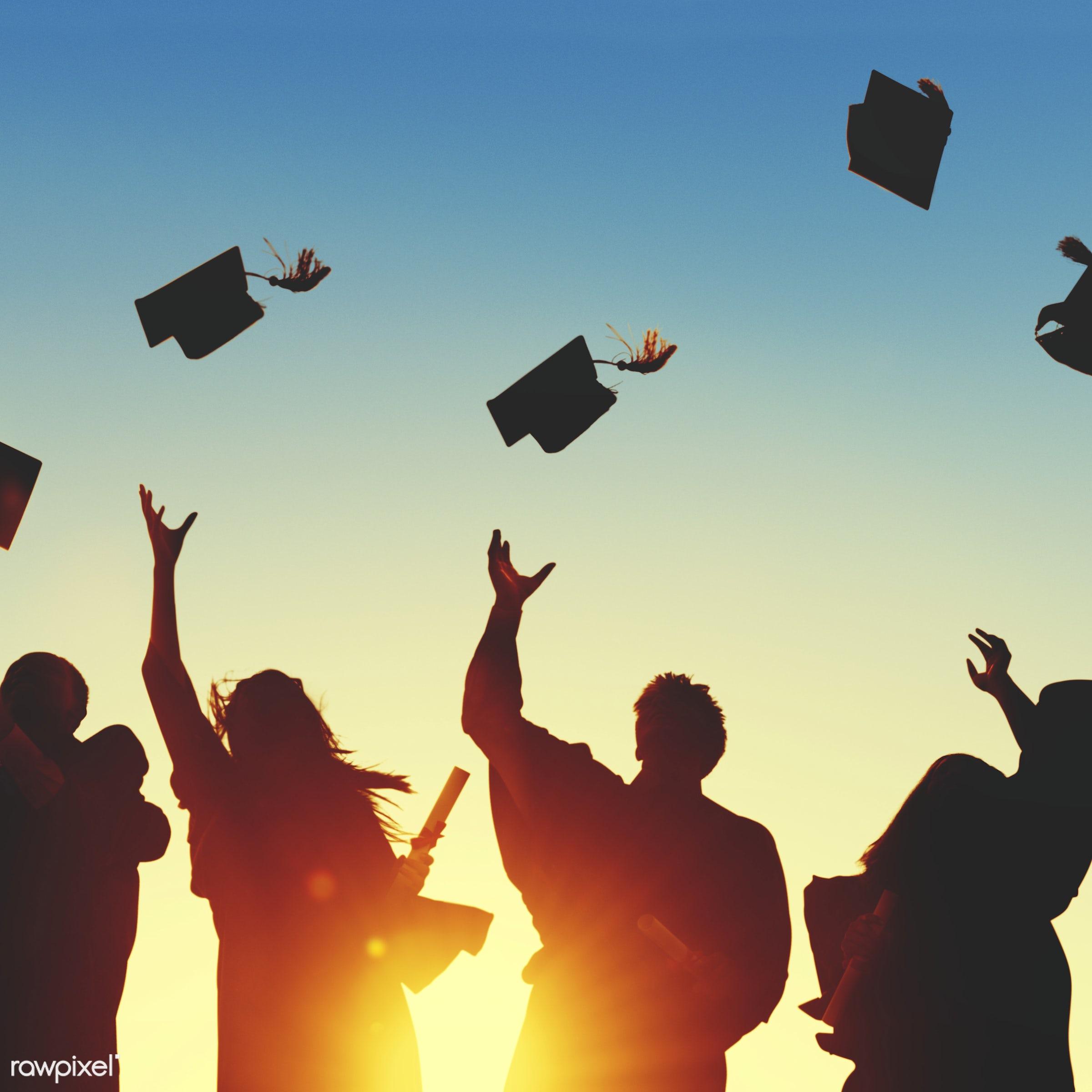 Group of diverse graduating students - education, graduation, academic, achievement, campus, cap, celebration, ceremony,...