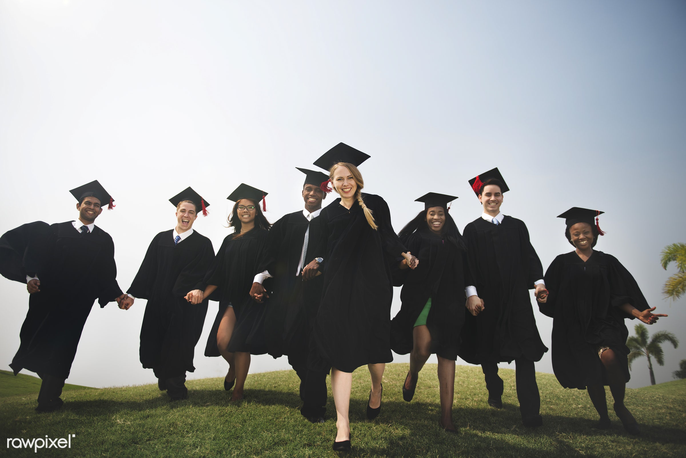 Group of diverse students graduating - graduating, graduation, joy, achievement, success, proud, academic, african descent,...