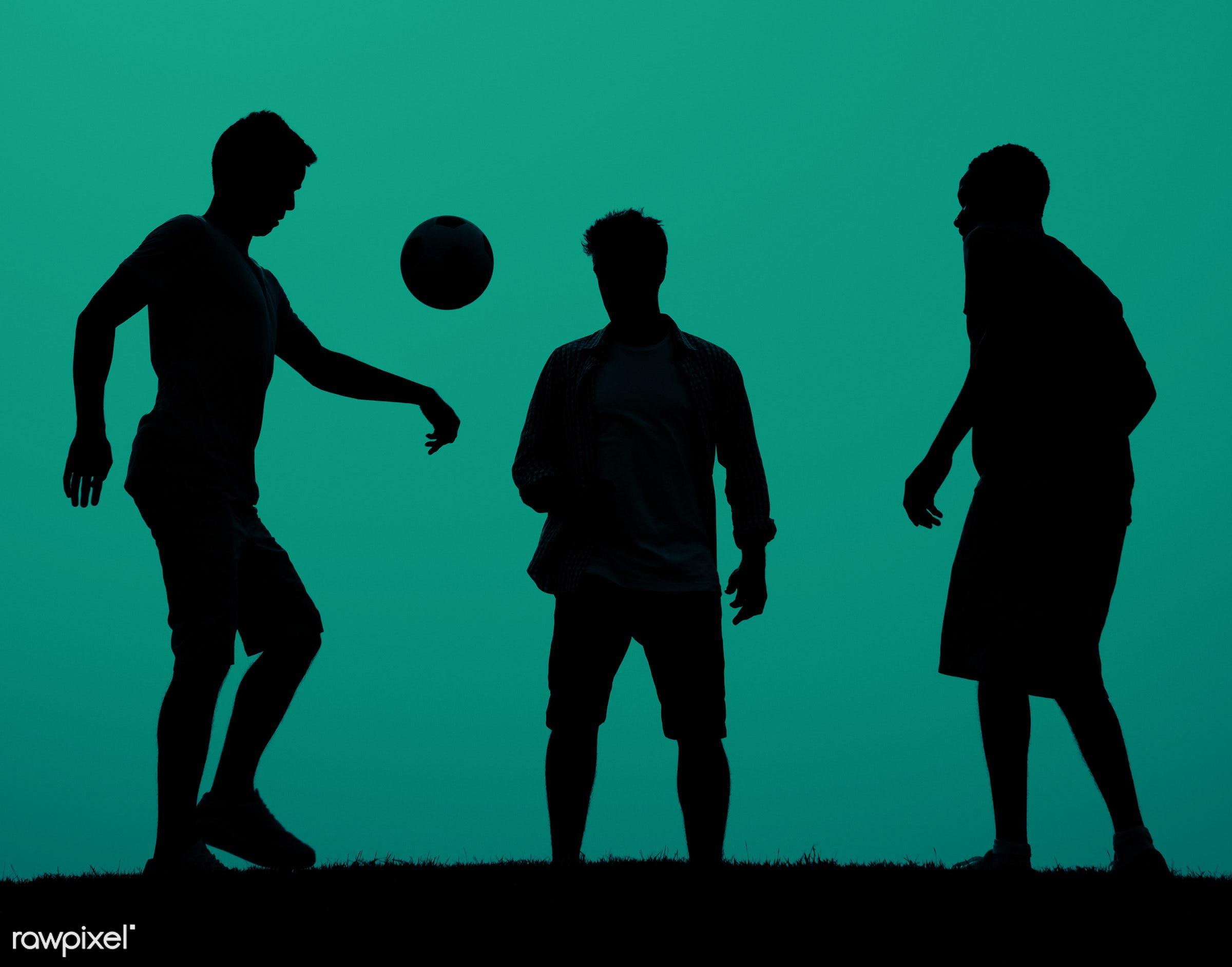 action, active, ball, blue, dusk, evening, field, football, friendship, fun, game, grass, kicking, leisure activity, leisure...