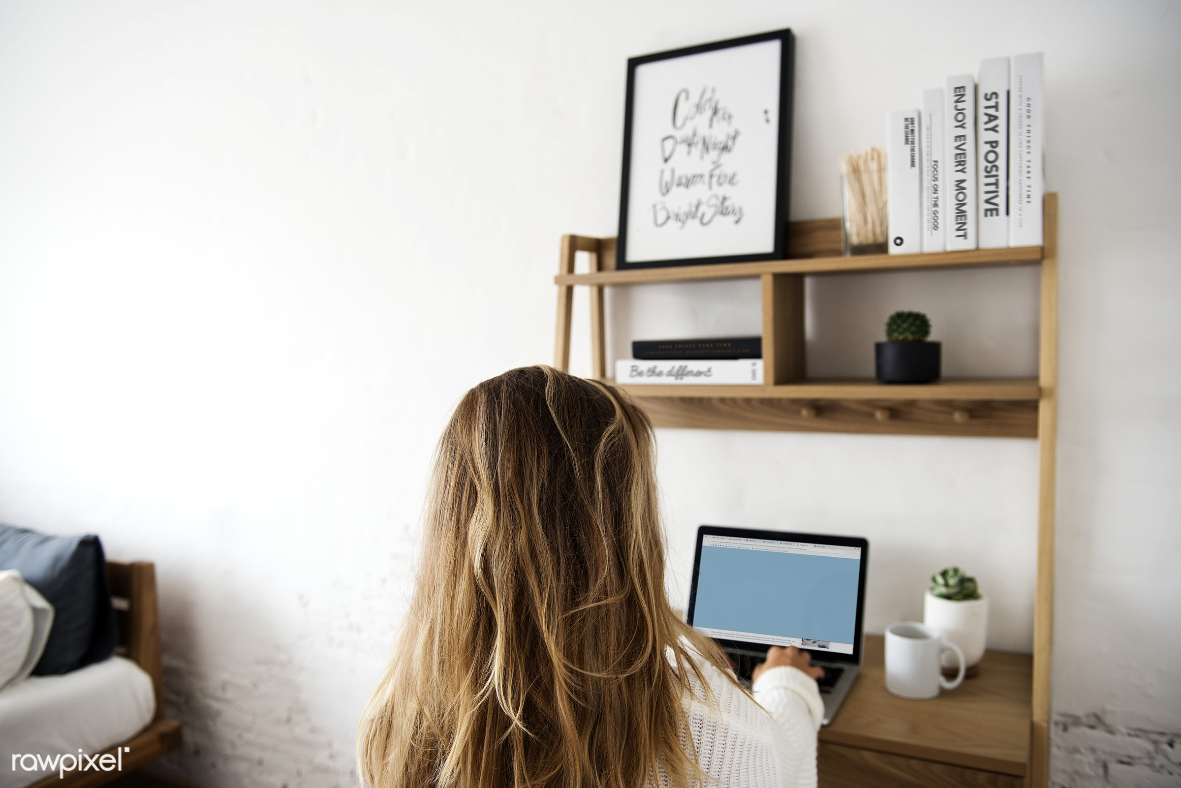 interior, brunette, casual, communication, connection, desk, home, laptop, lifestyle, one person, room, sitting, table, teen...