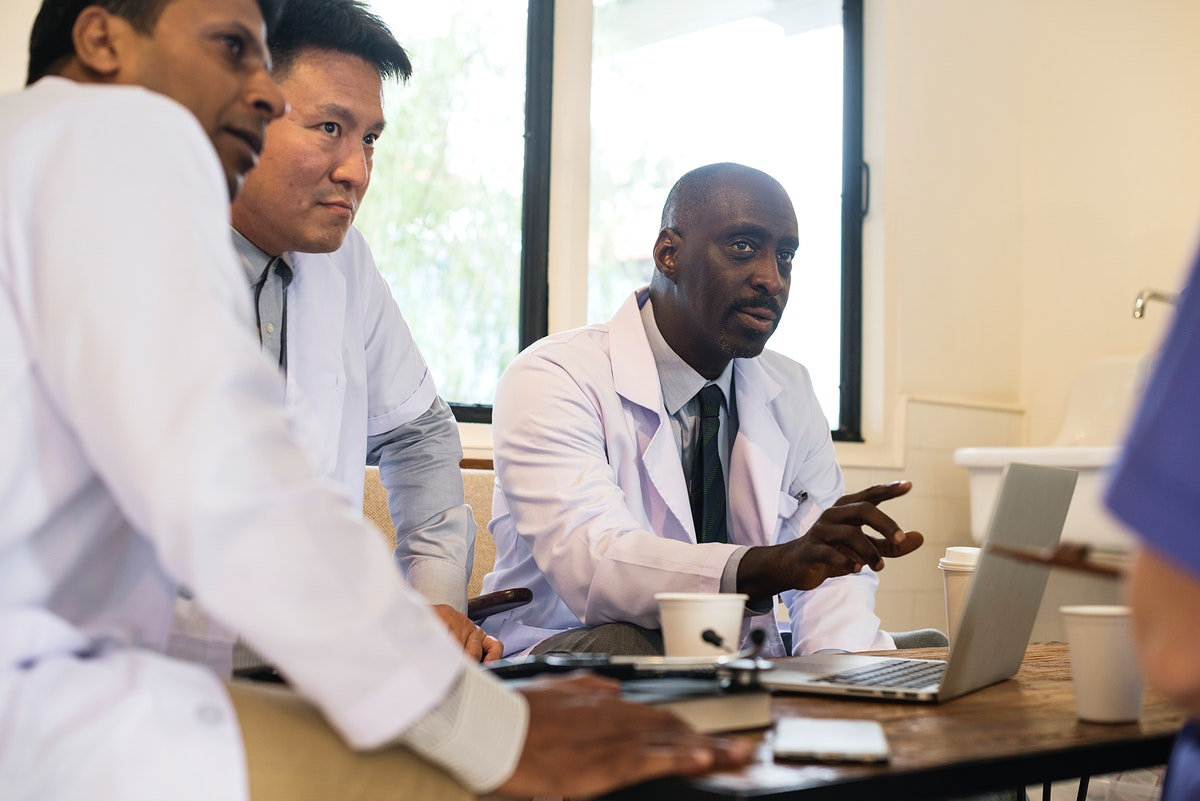 Group of diverse doctors are having a discussion