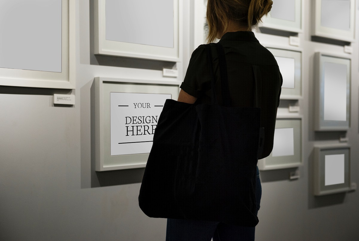 Woman in an art exhibition