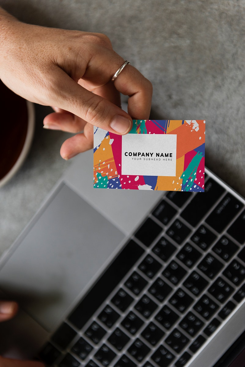 Handing out a business card mockup