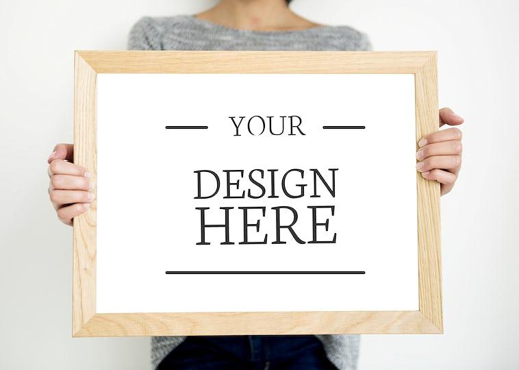 Mockup design space on white board