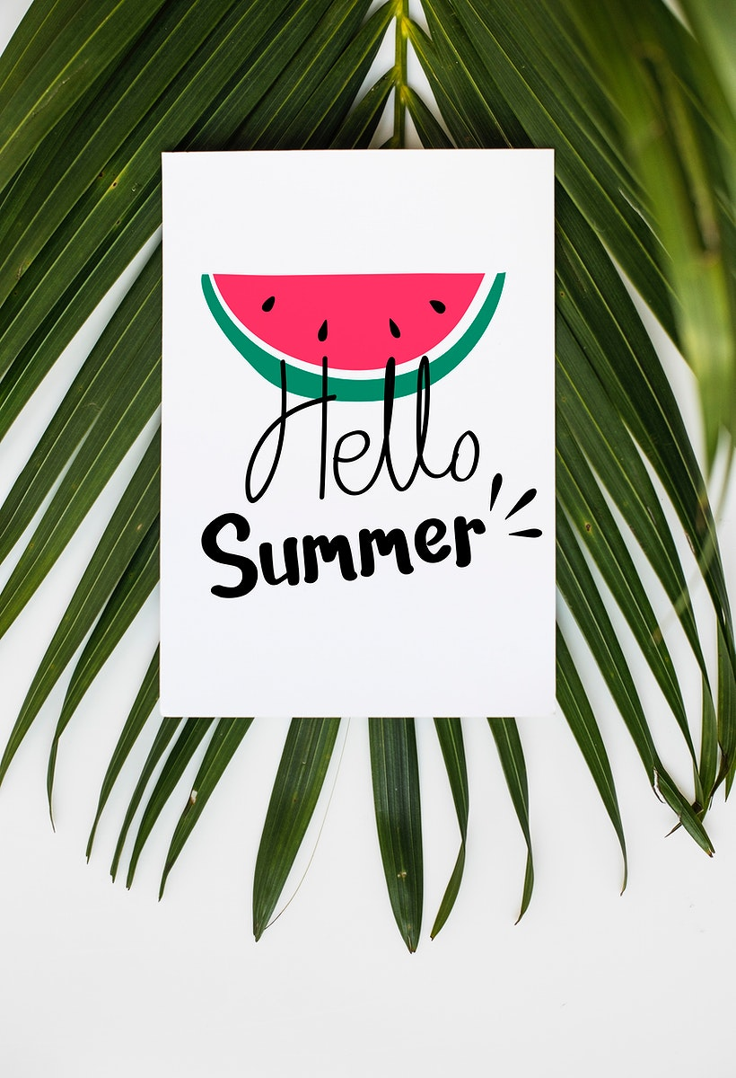 White summer poster with a palm leaf