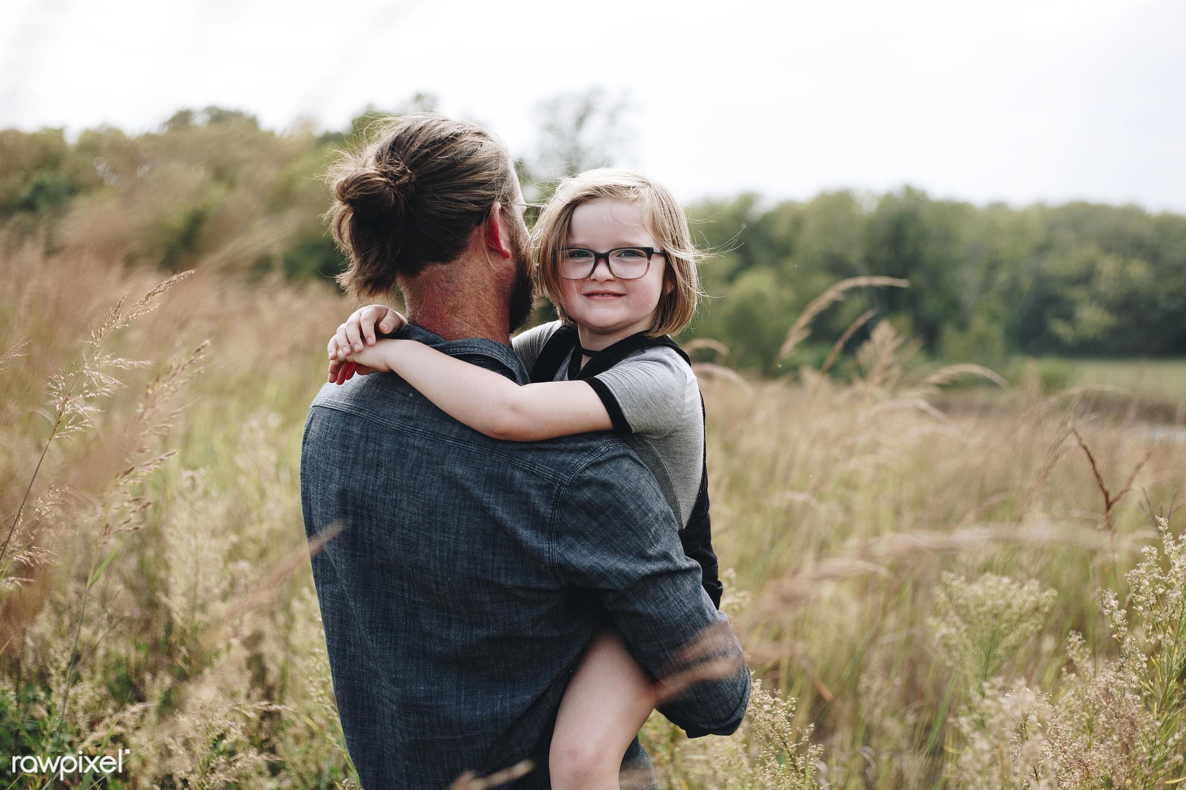 Caucasian dad having fun with daughter - nature, america, american, canada, canadian, cares, caucasian, cheerful, child,...