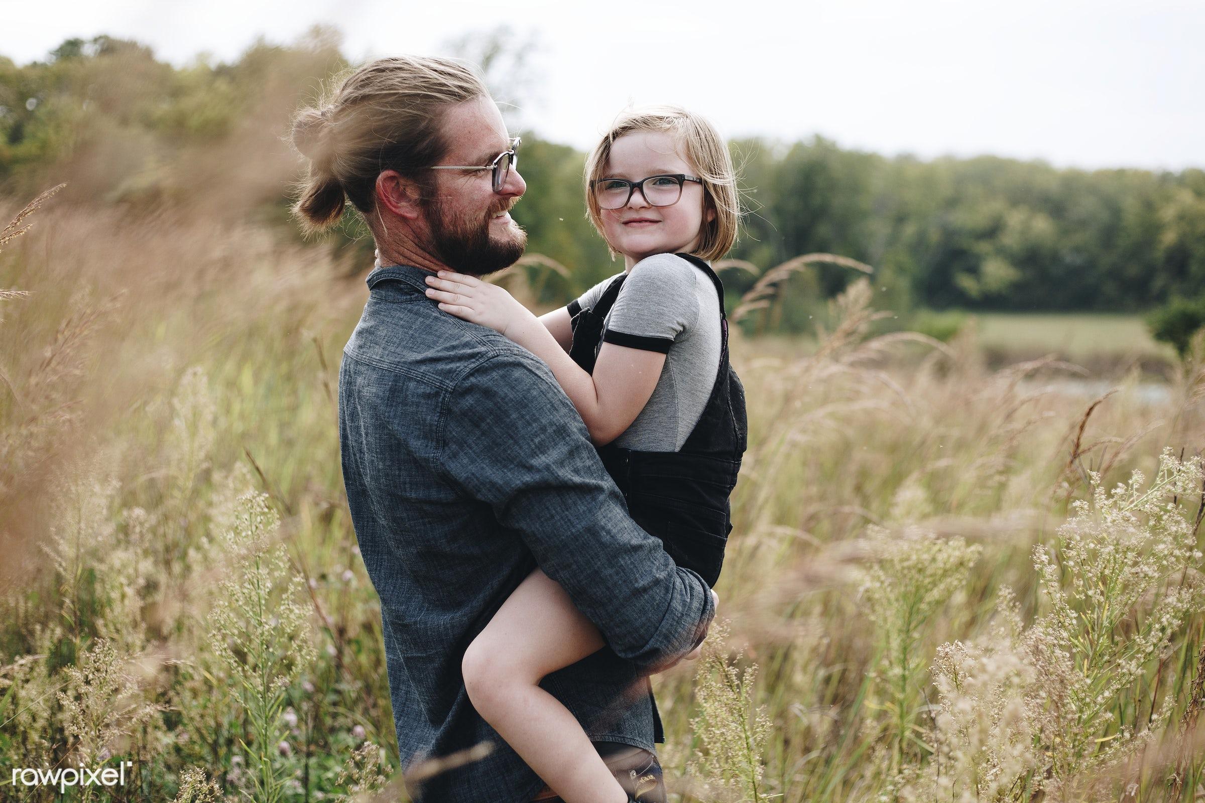 Caucasian dad having fun with daughter - parent, america, american, canada, canadian, cares, caucasian, cheerful, child,...