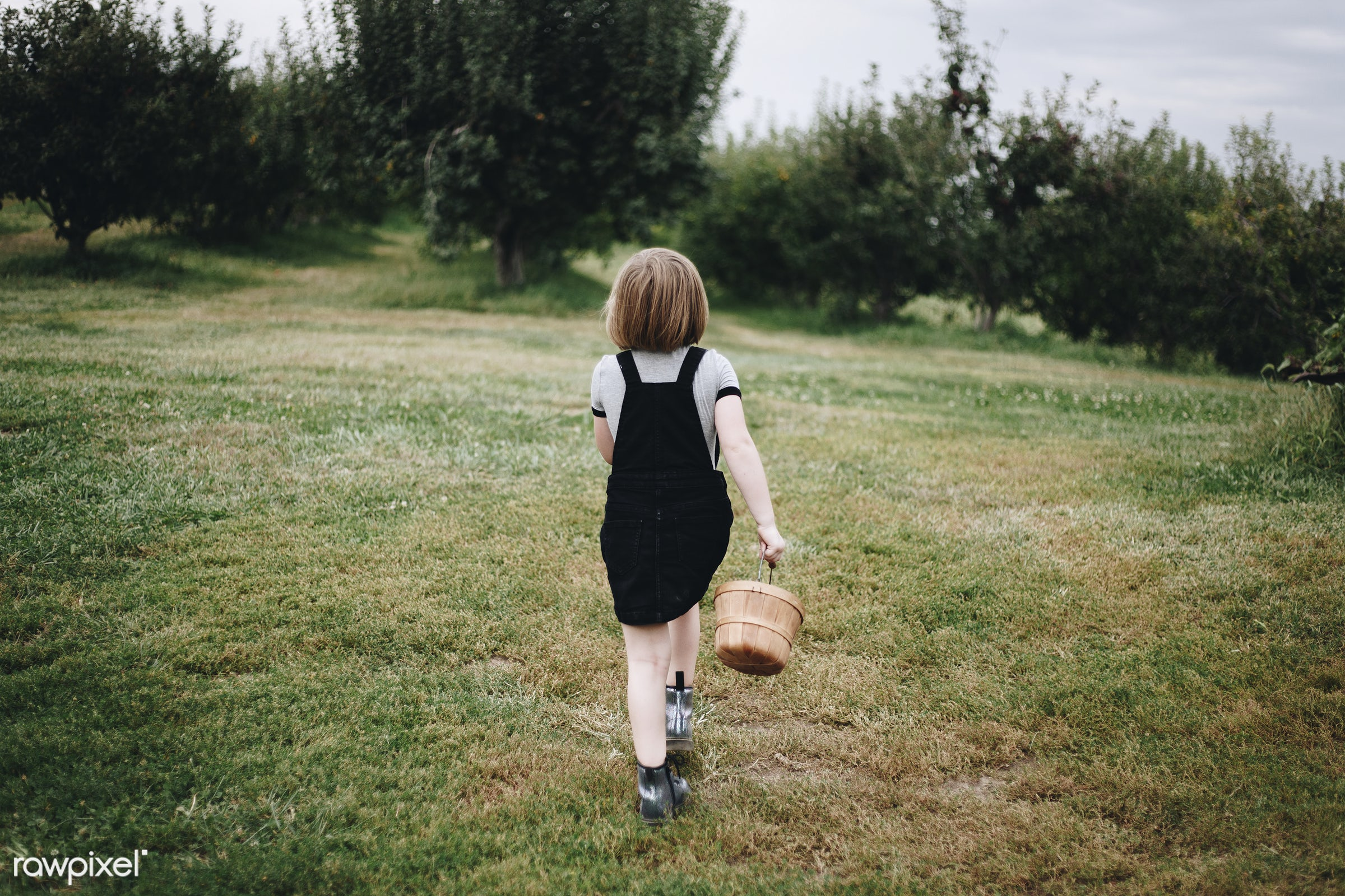 Little girl playing in a farm - happiness, alone, america, american, canada, canadian, cheerful, child, countryside,...