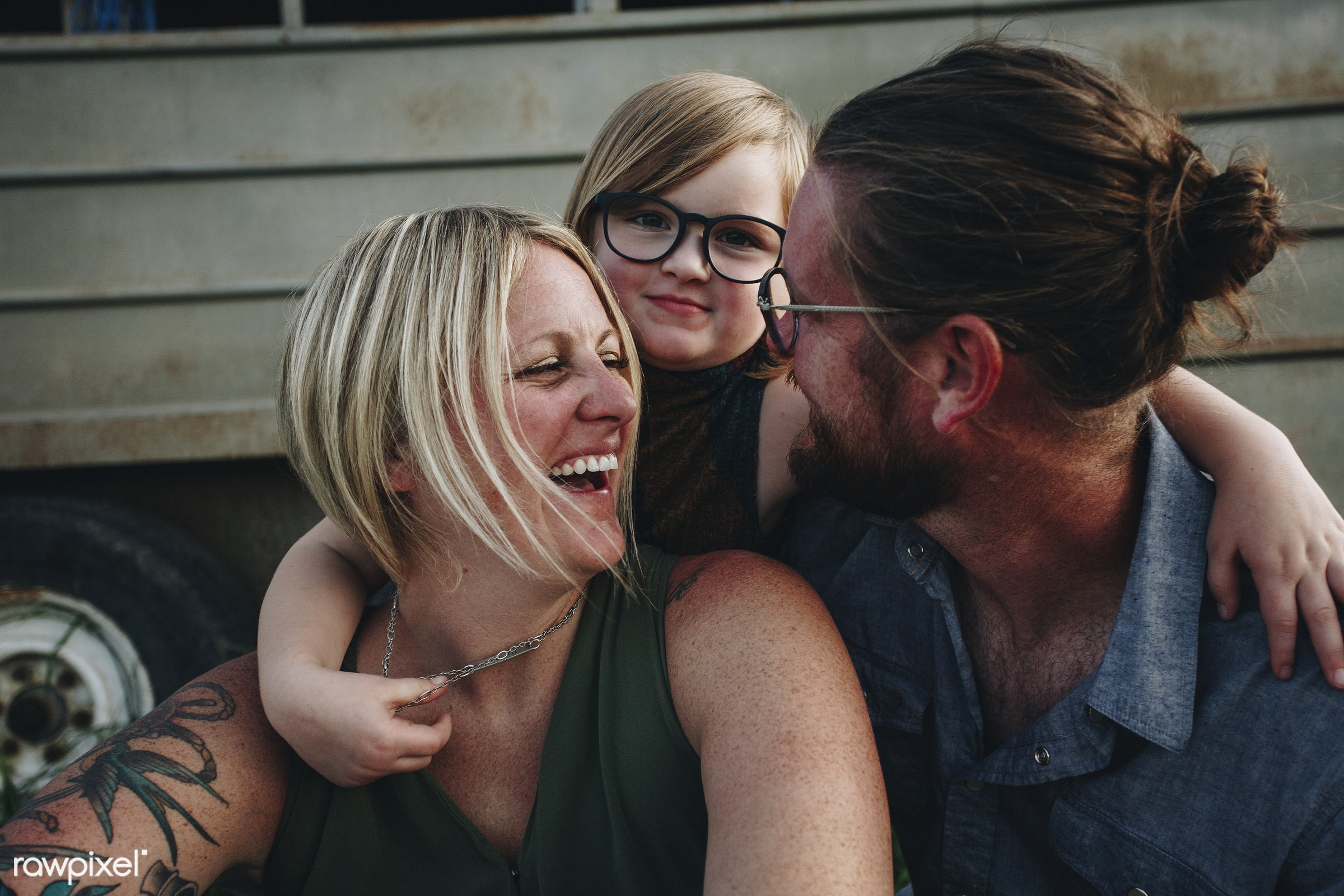 A cheerful happy caucasian family - canada, nature, child, mom, america, american, canadian, cheerful, countryside, dad,...