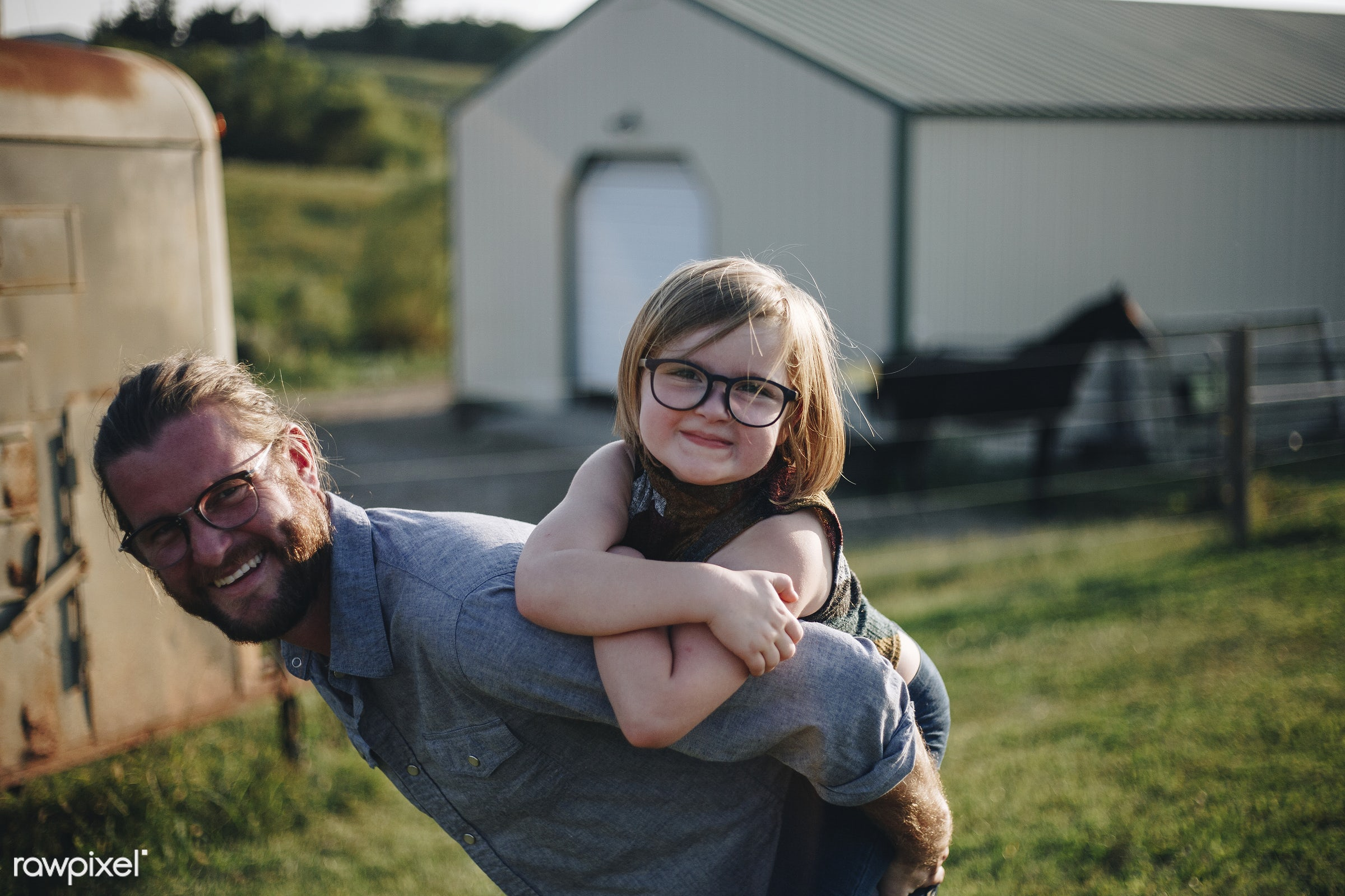 Caucasian dad having fun with daughter - father, america, american, canada, canadian, cares, caucasian, cheerful, child,...