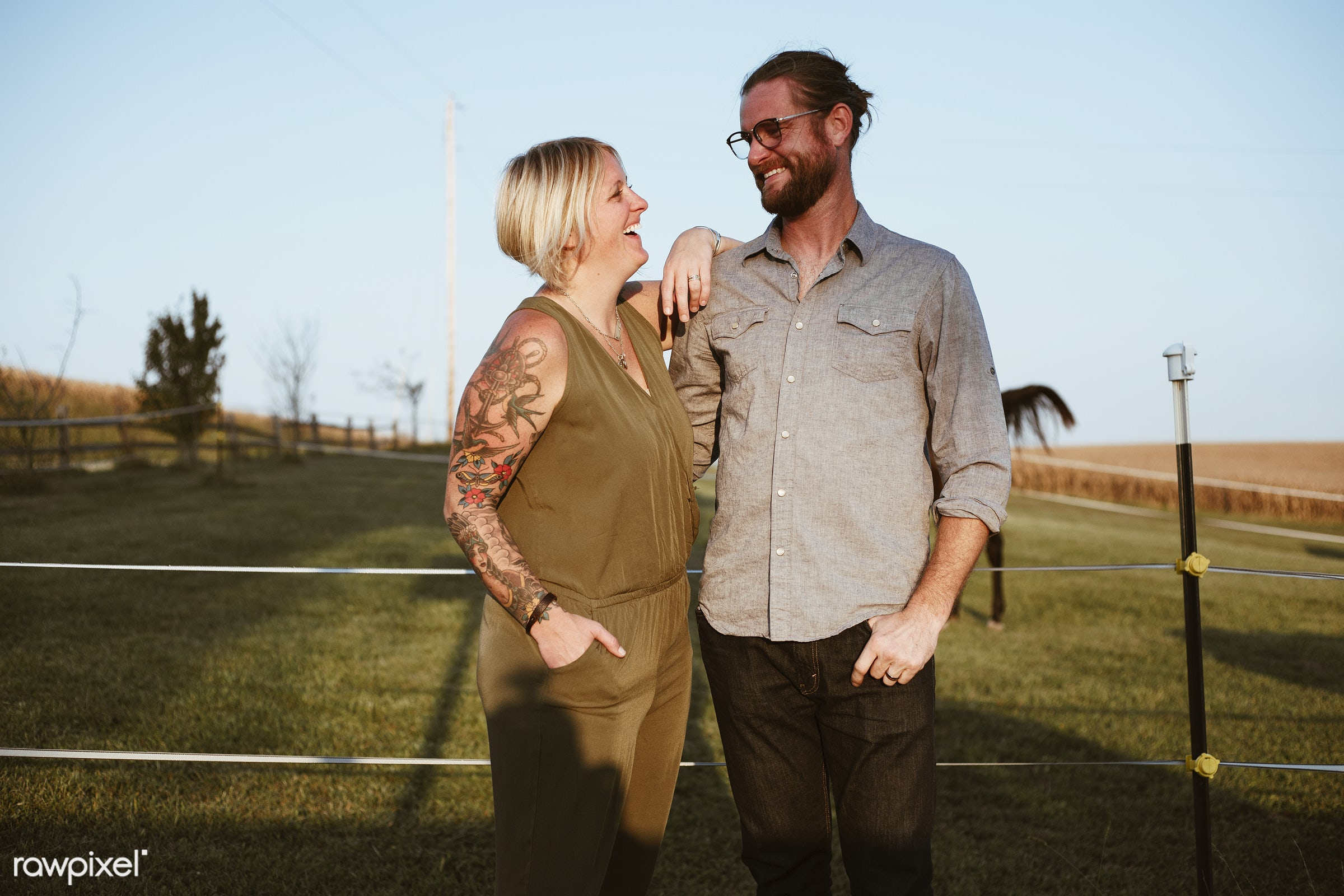 Caucasian couple having a great time together - america, american, canada, canadian, cares, cheerful, countryside, couple,...