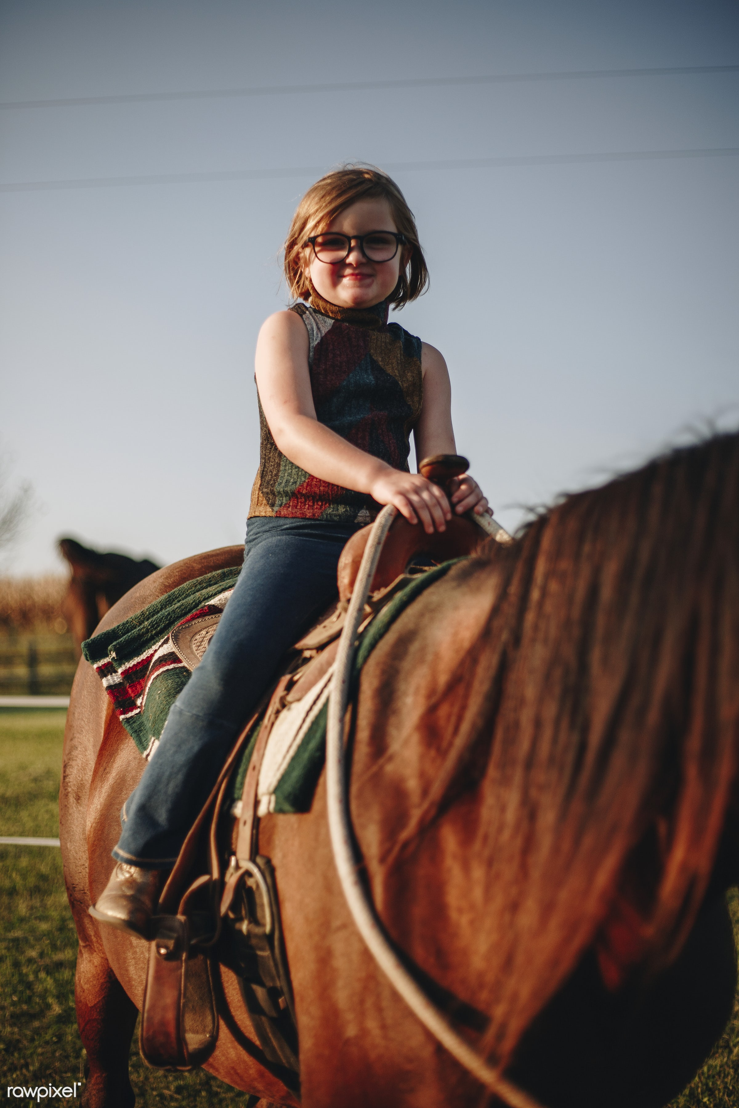 Young girl is enjoying a horse riding - activity, america, american, animal, canada, canadian, caucasian, child, countryside...