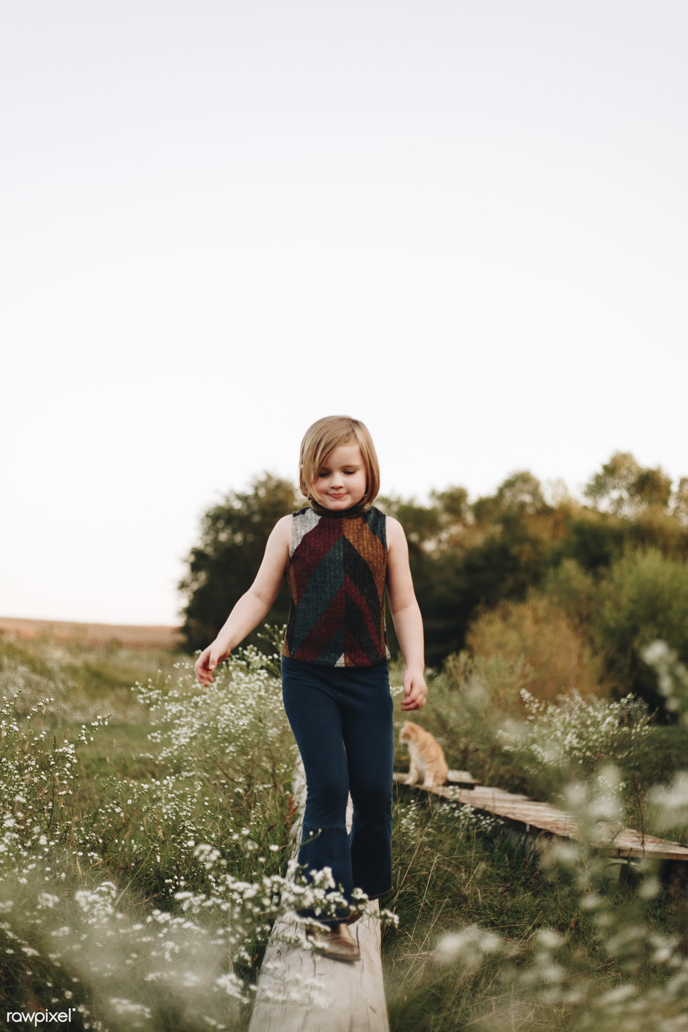 Little girl having fun in a farm - alone, america, american, canada, canadian, cheerful, child, countryside, daughter...