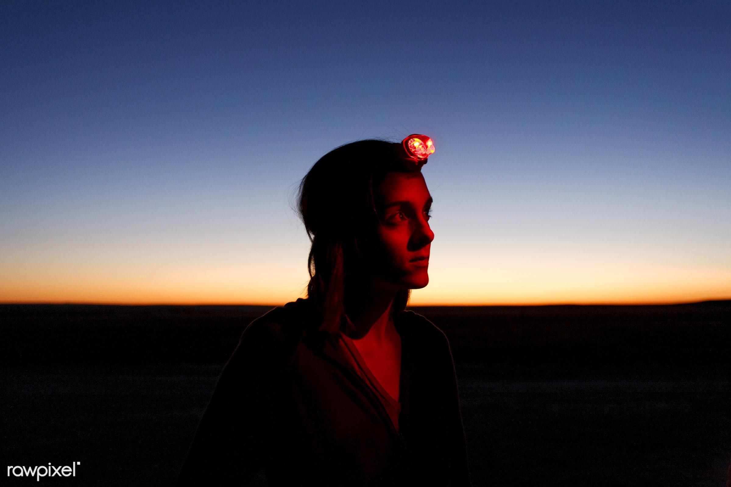 Traveler wearing headlamp - activity, adventure, alone, america, american, animal, attraction, backlit, backpacker,...
