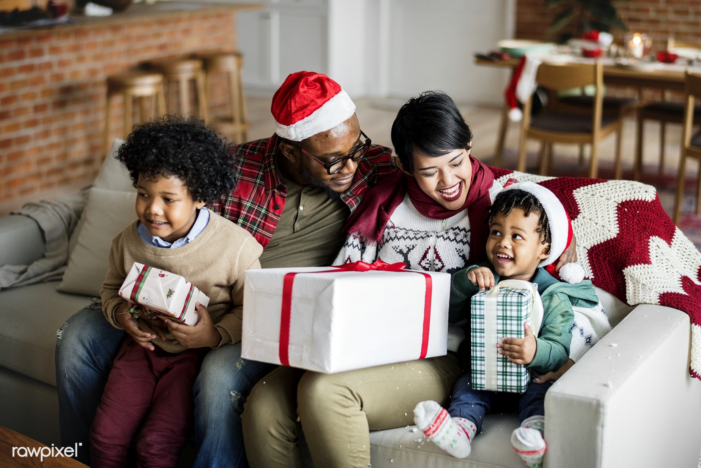 a black family enjoying christmas holiday - Black Family Christmas Pictures