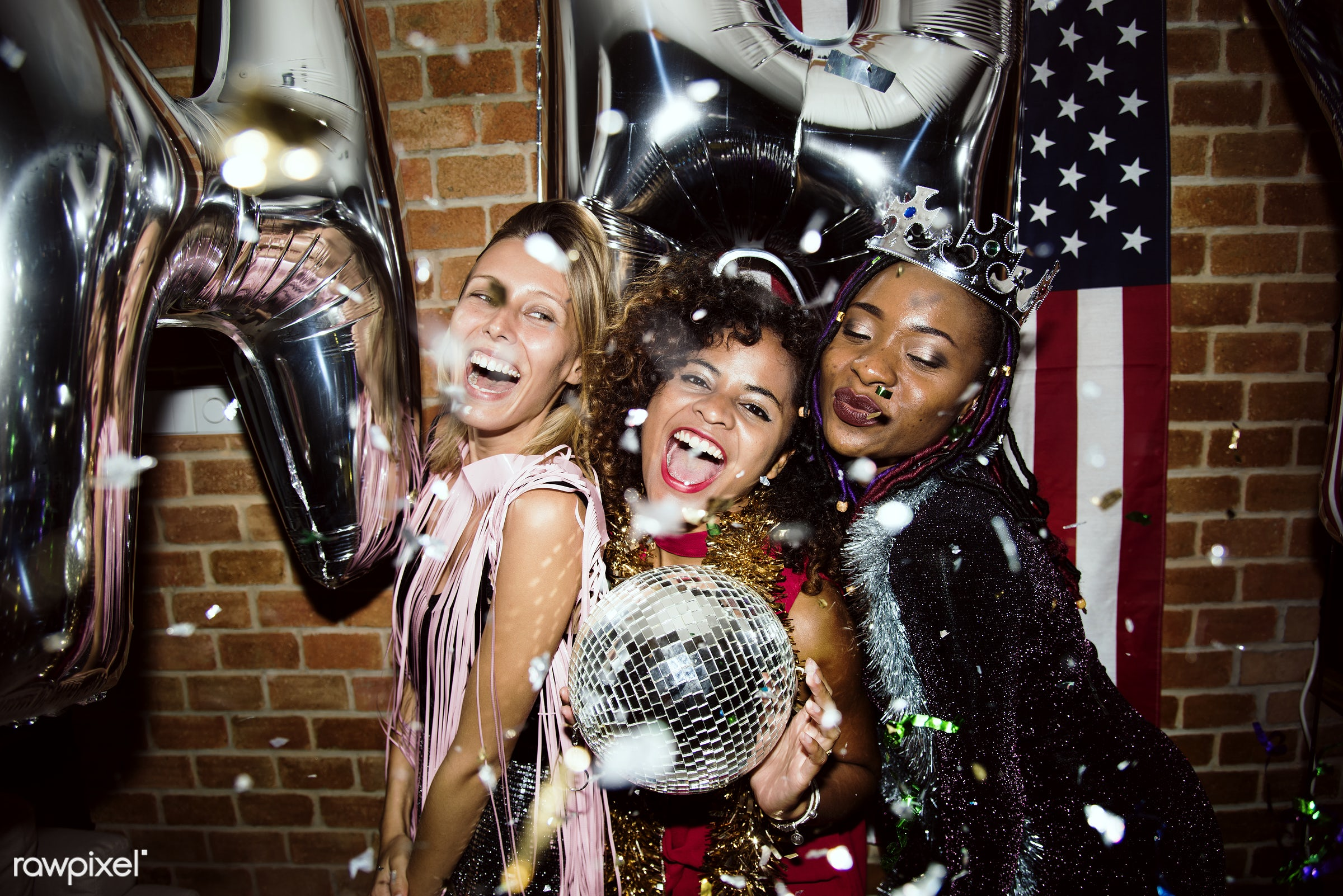 People enjoying a party together - new year, celebrate, 2018, african, african american, african descent, balloons, birthday...