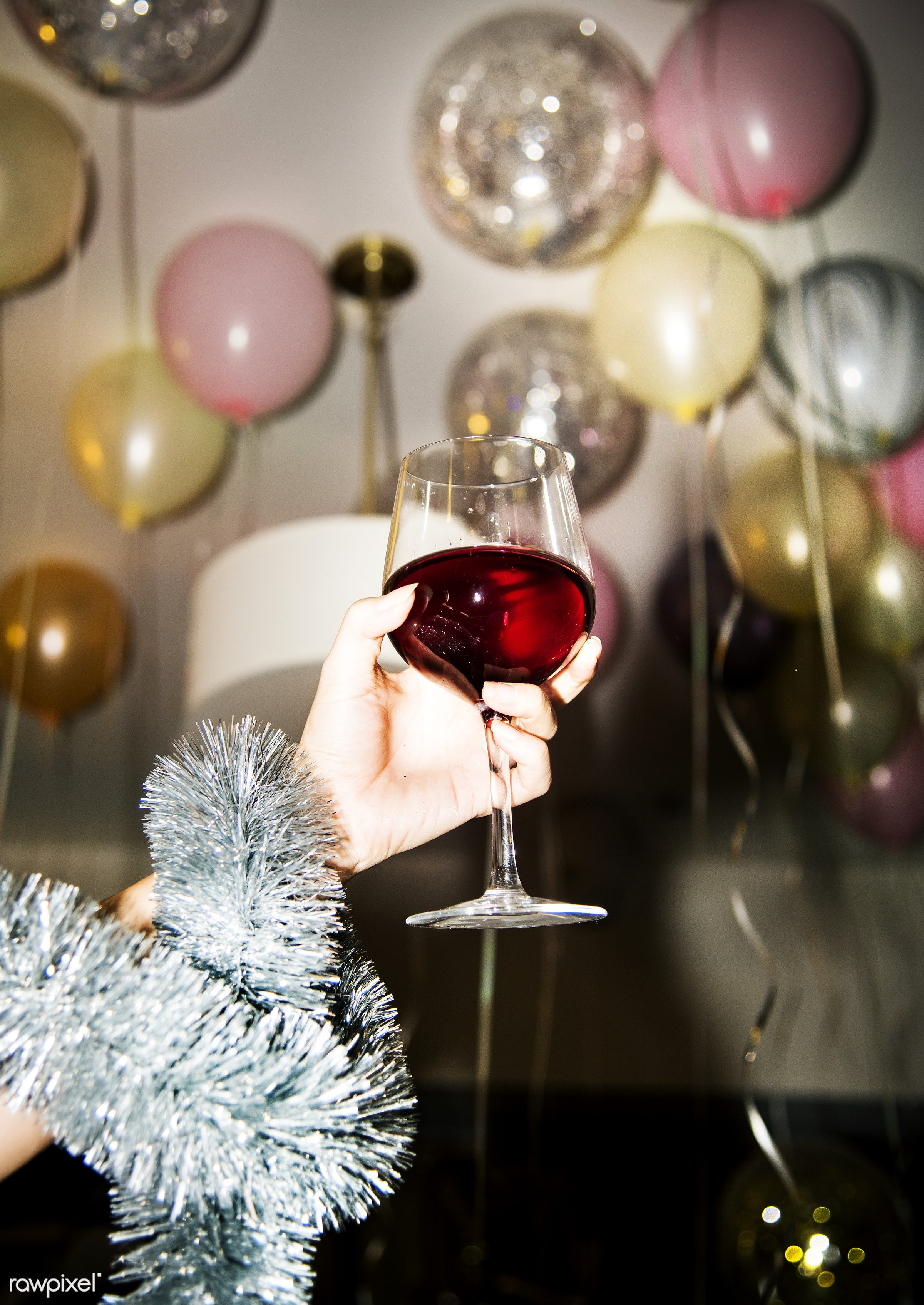 People celebrating in a party - new year, birthday, party, wine, 2018, alcohol, balloons, beverage, celebrate, celebration,...