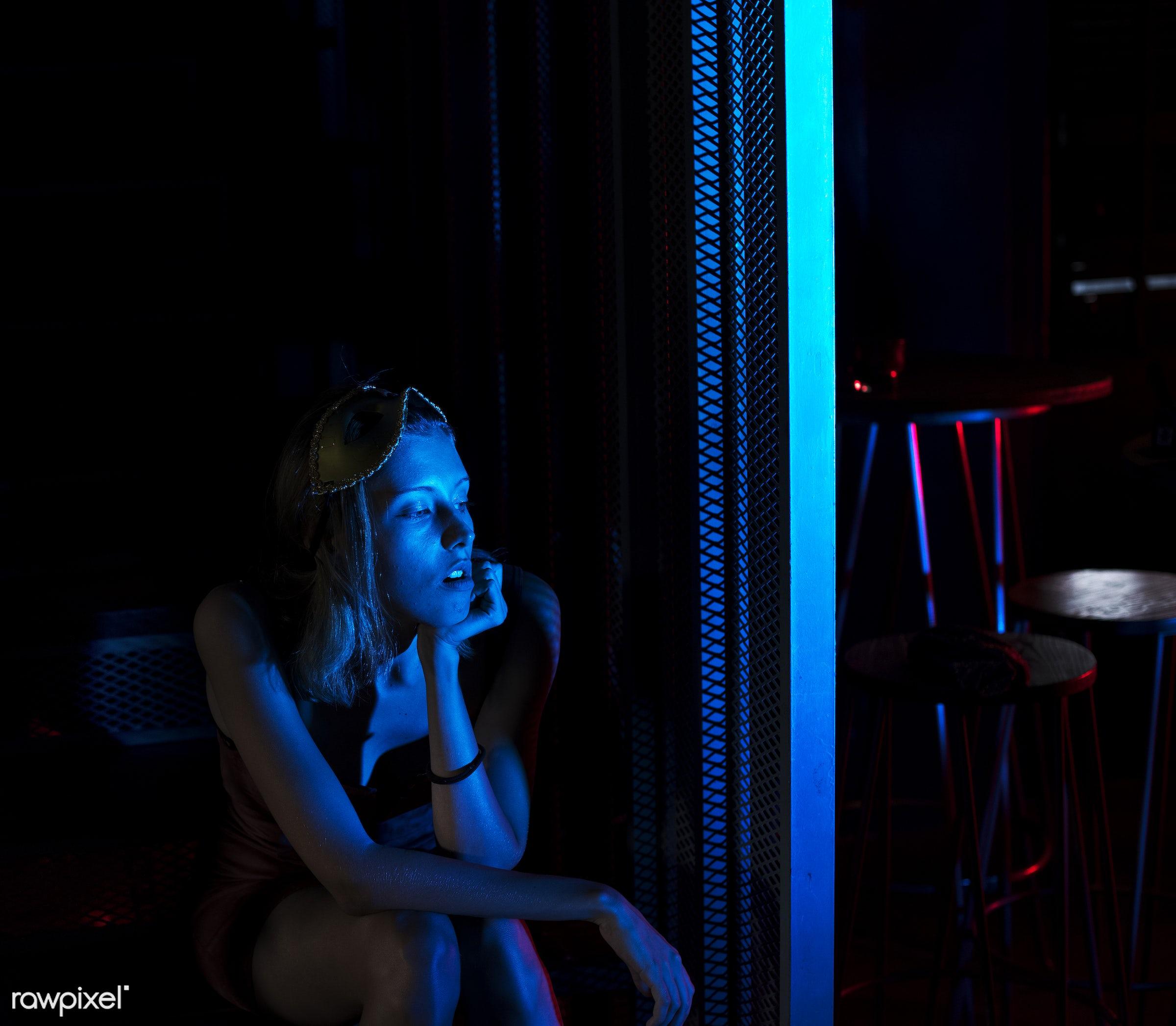 Woman sitting alone in the dark - 2018, alone, caucasian, club, dark, emotion, expression, face, feeling, glam, new years...