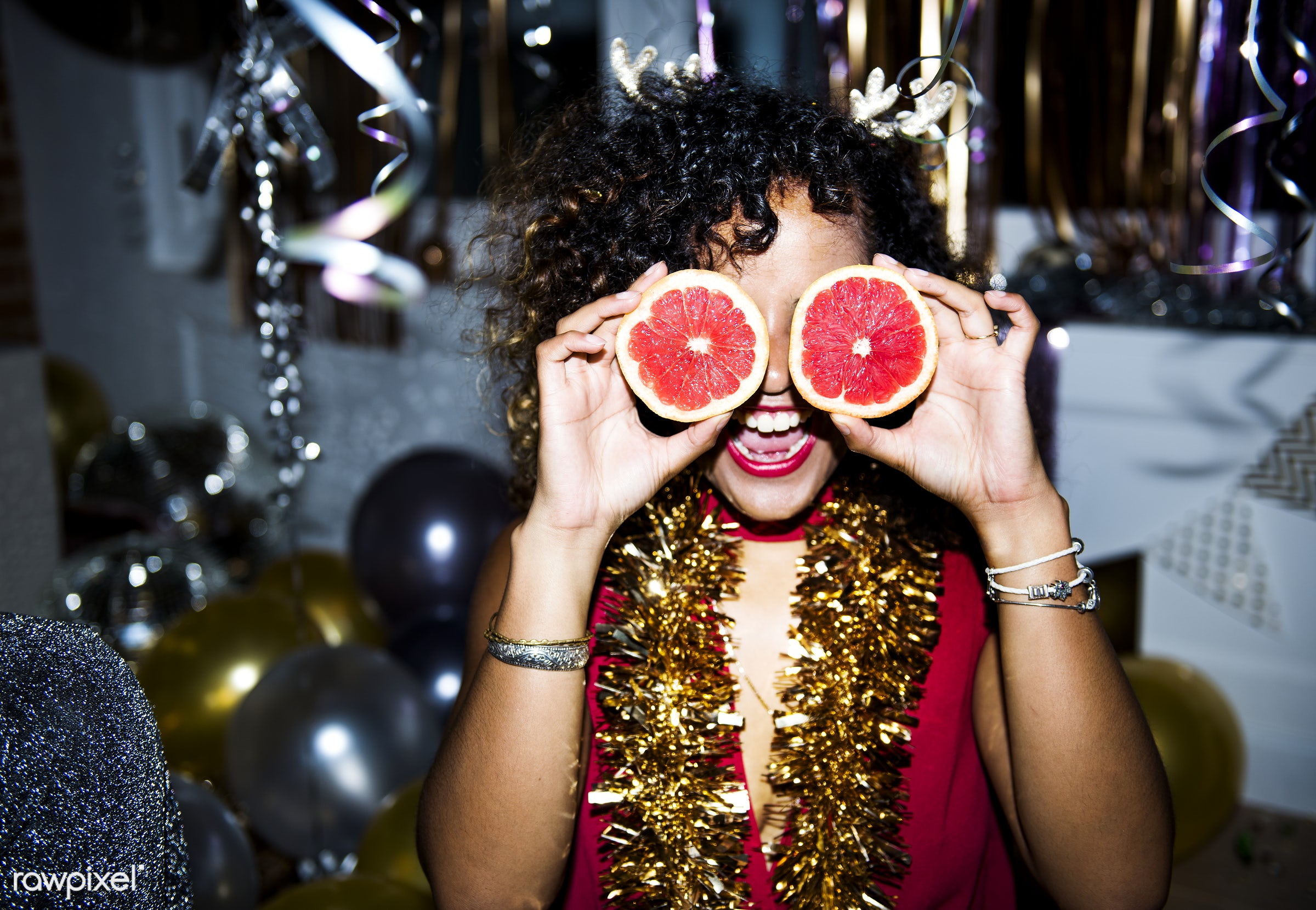 People having fun in a party - party, new year, food, woman, birthday, fun, funny, alone, 2018, african american, african...