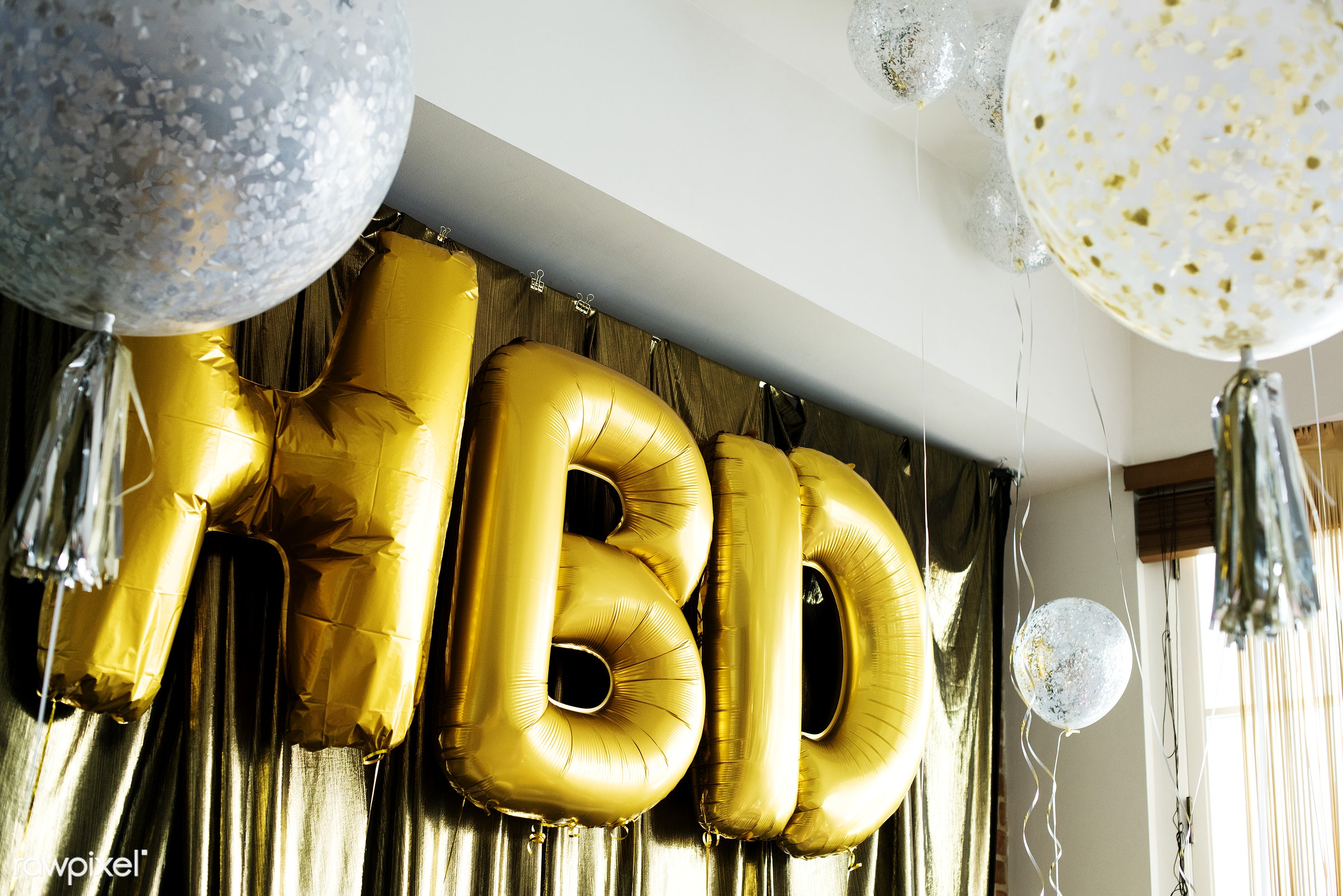 HBD balloons in a birthday party - birthday, 2018, balloons, celebrate, celebration, decorate, decoration, event, festive,...
