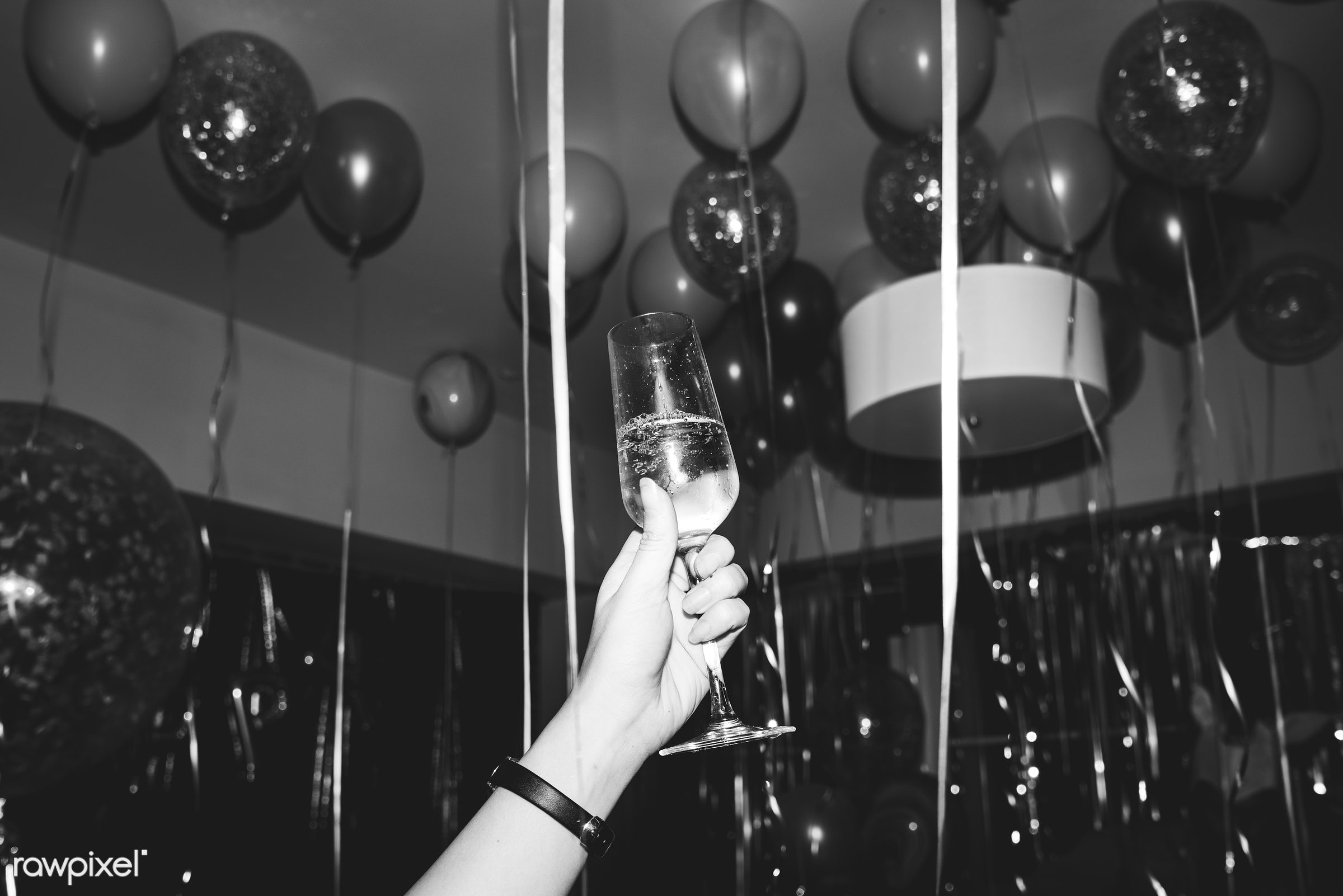 People celebrating in a party - 2018, alcohol, balloons, beverage, birthday, celebrate, celebration, champagne, cheers,...