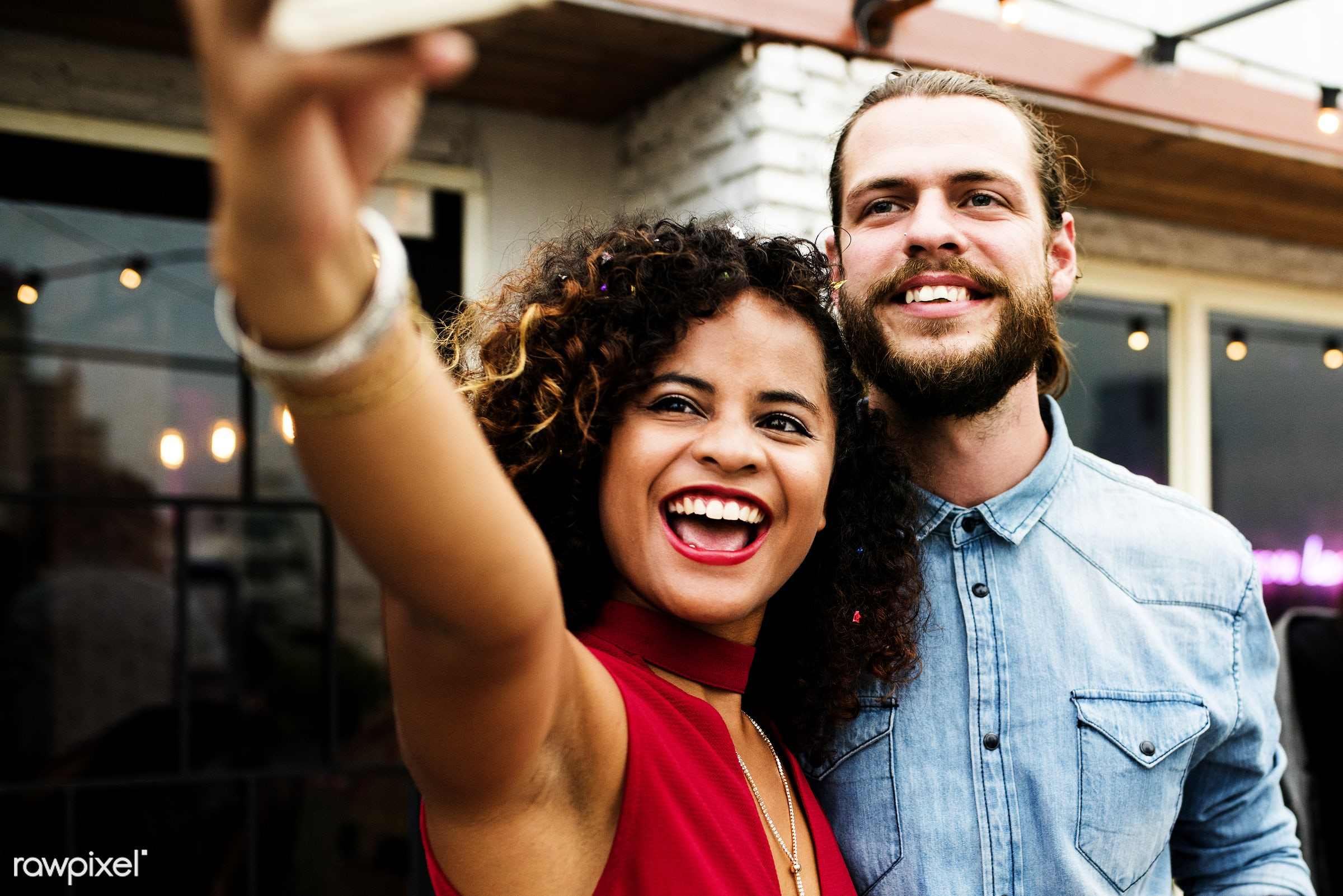 Couple taking selfie in a party - selfie, 2018, african american, african descent, birthday, birthday party, black, camera,...