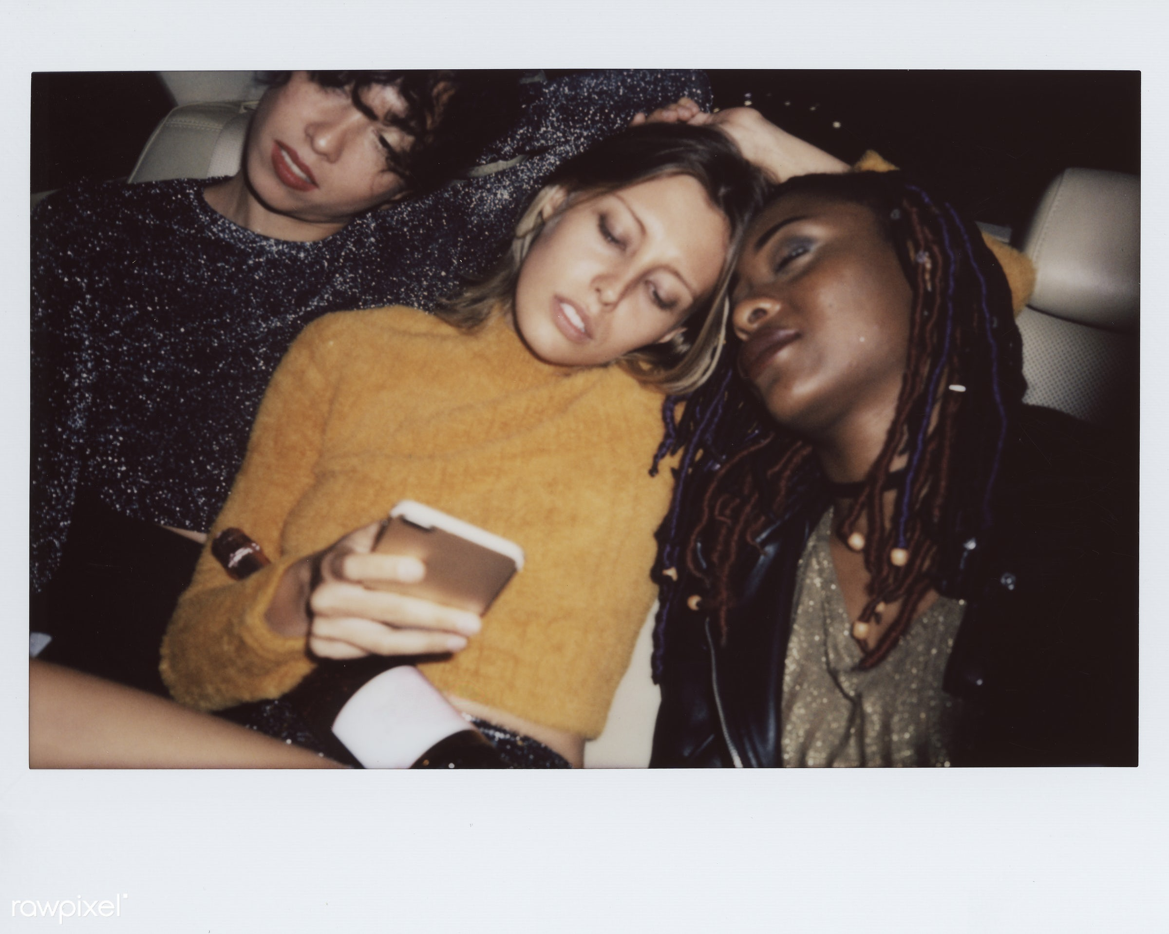 Diverse women in a backseat of a cab - mobile phone, 2018, african, african american, african descent, backseat, black, cab...