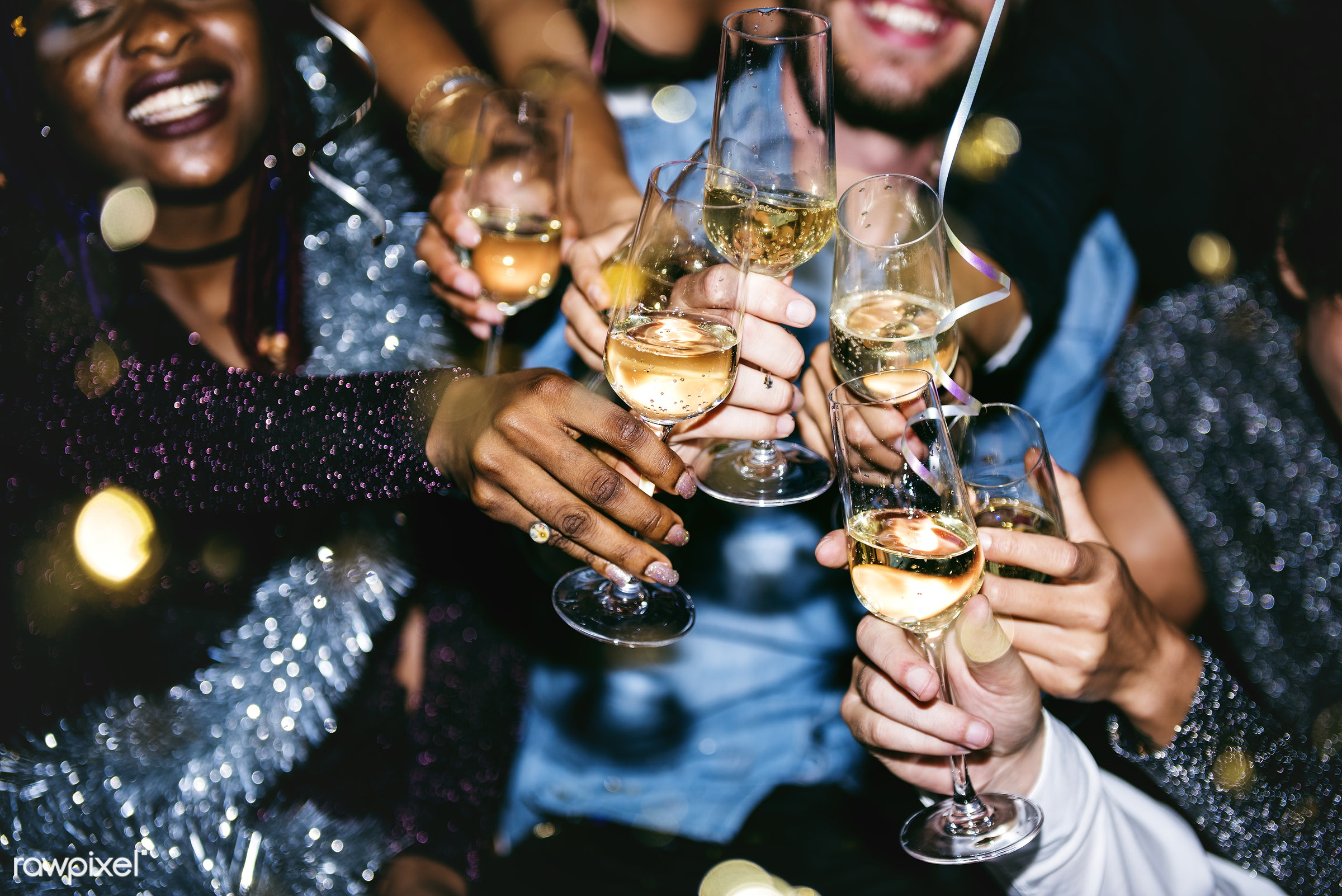 People celebrating in a party - party, new year, champagne, drink, alcohol, birthday, celebrate, celebration, drunk,...
