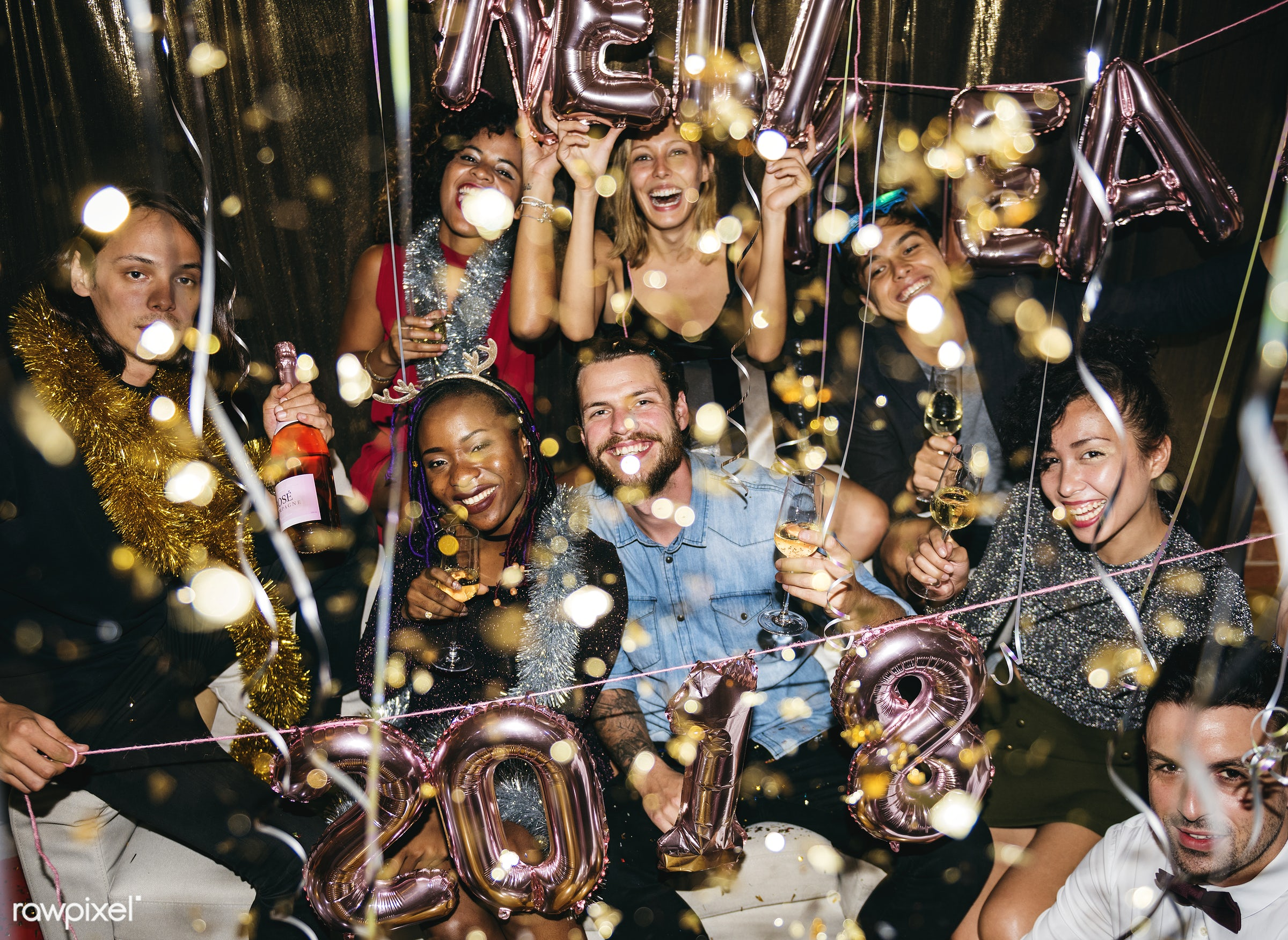 People enjoying a party with friends - new year, party, drunk, 2018, african american, african descent, beverage, birthday,...
