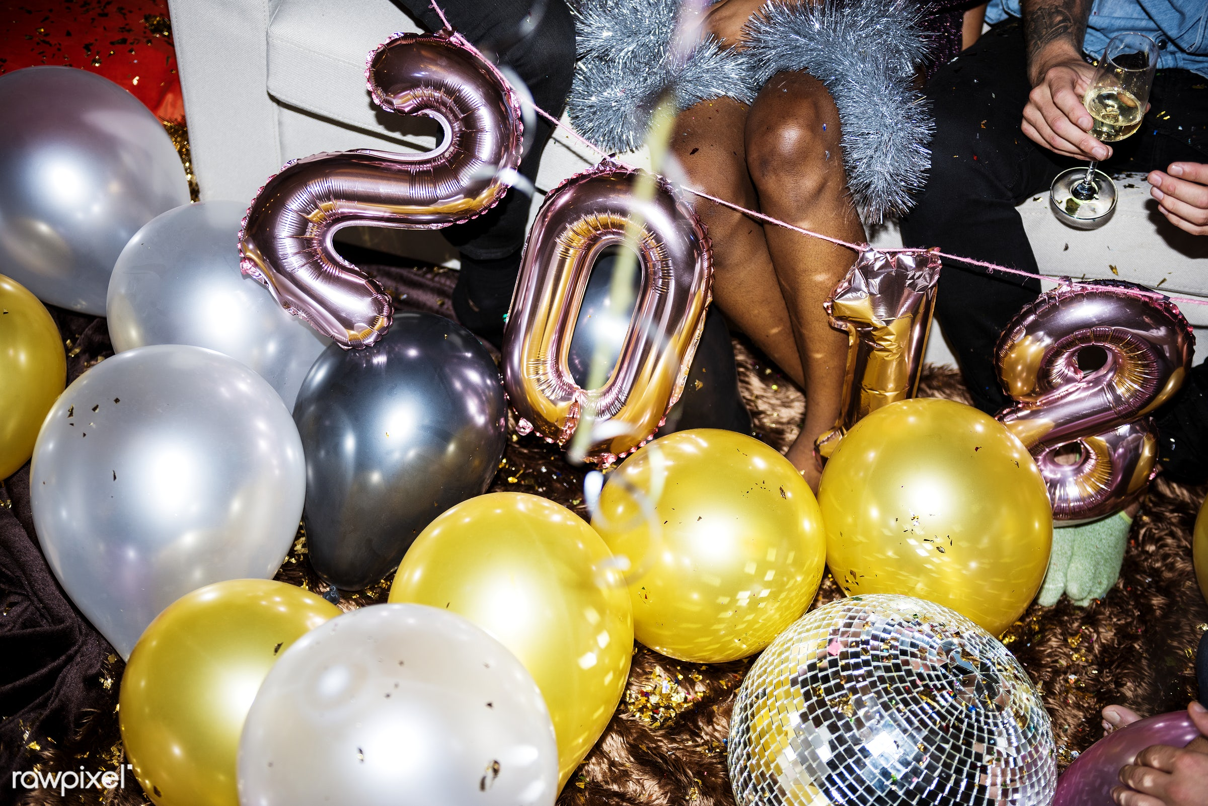 People enjoying a party - new year, birthday, party, 2018, balloons, birthday party, caucasian, celebrate, celebration,...