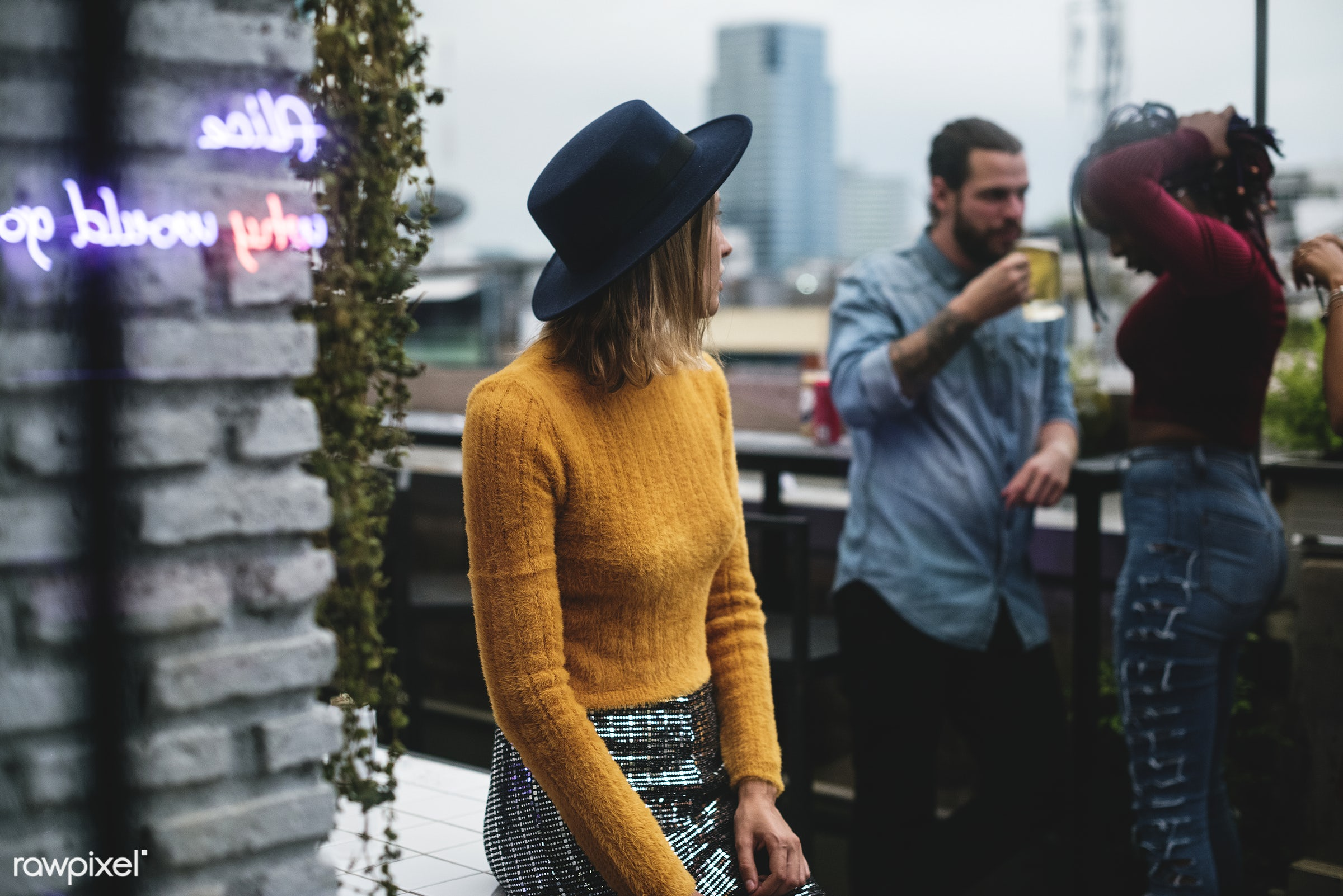 People having fun in a party - new year, rooftop, 2018, bar, birthday, birthday party, celebrate, celebration, fun, glam,...
