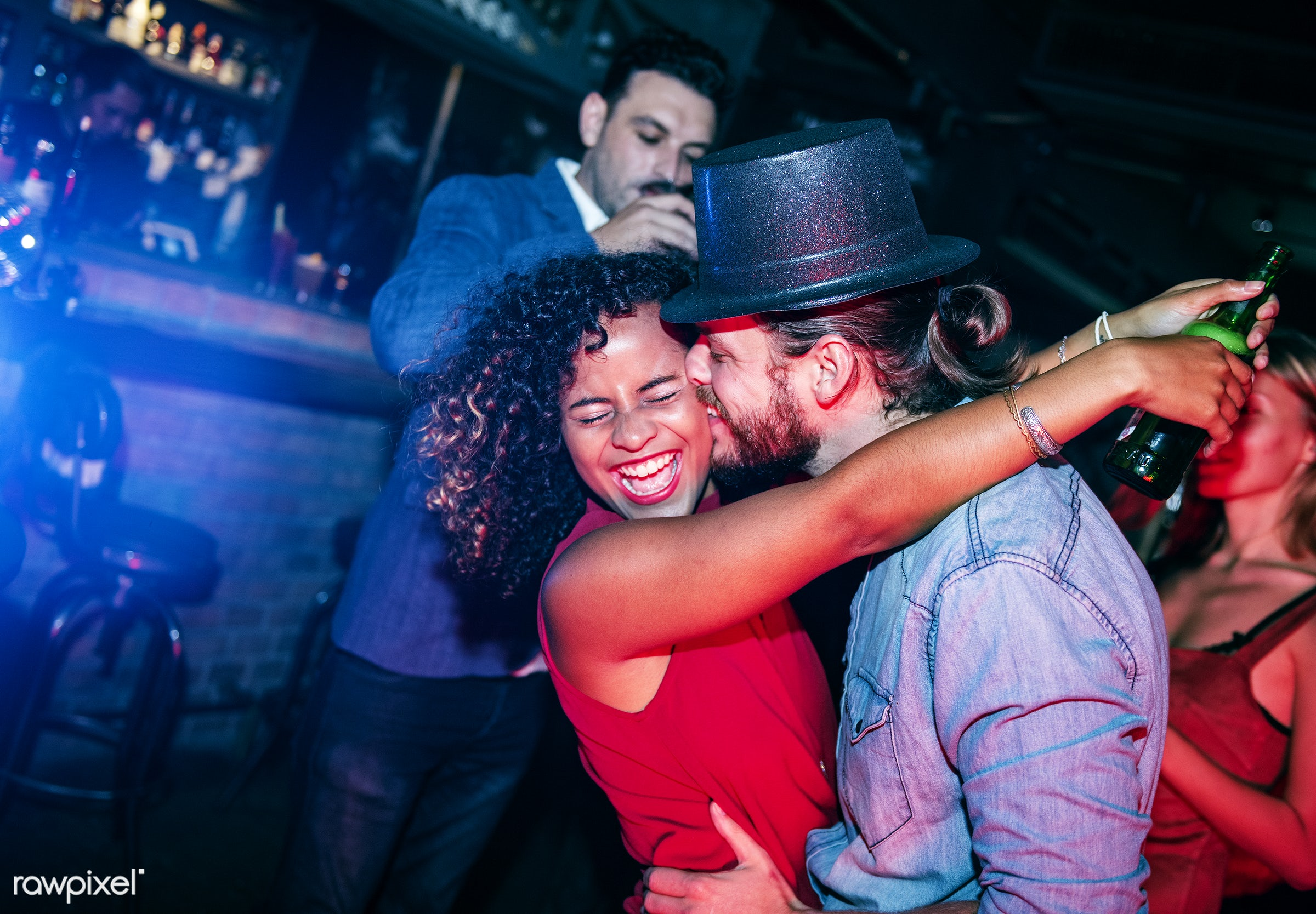 People having fun in a party - couple, birthday, new year, party, 2018, african american, african descent, birthday party,...