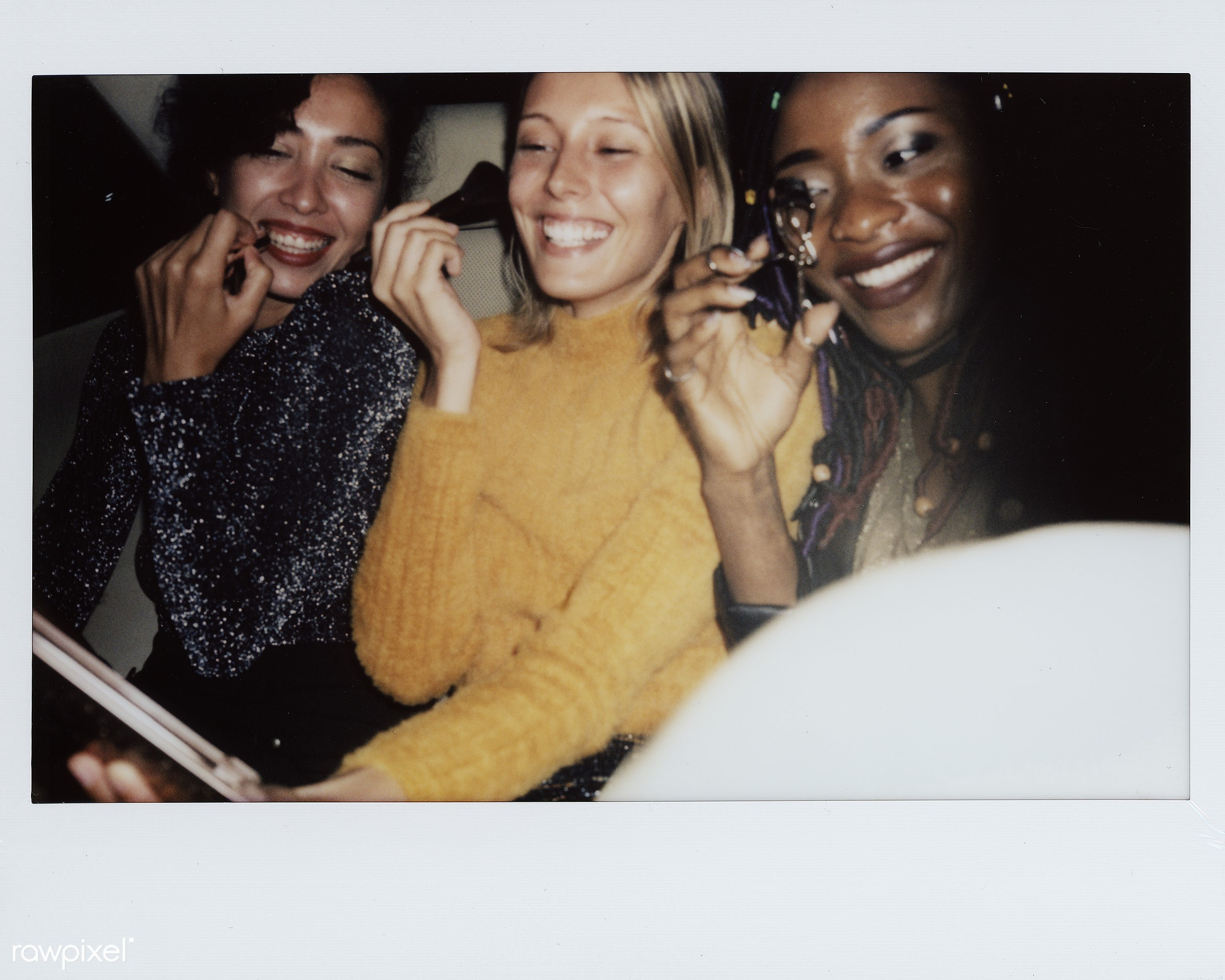 Diverse women in a backseat of a cab - makeup, 2018, african, african american, african descent, backseat, black, cab, car,...